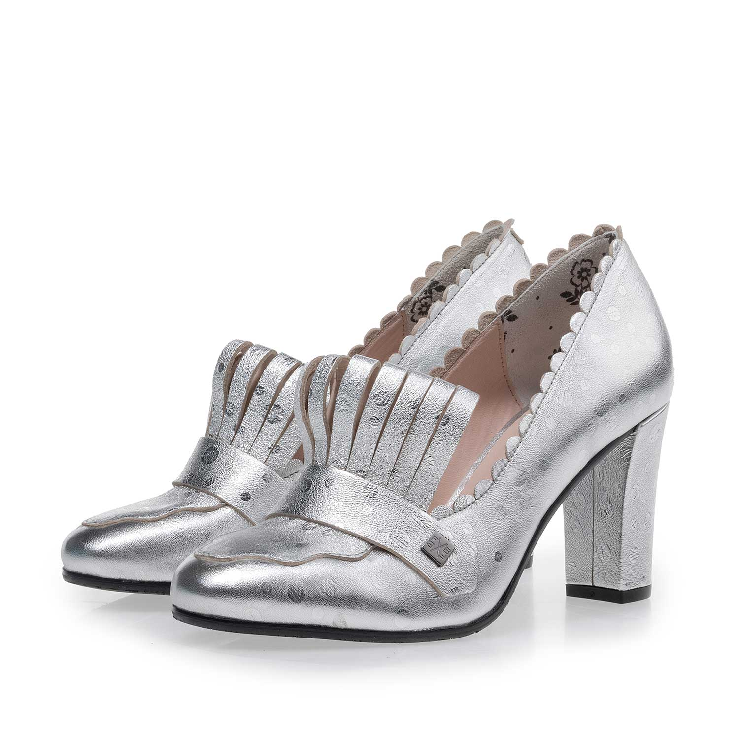 85190/04 - Silver-coloured leather pumps with dotted design