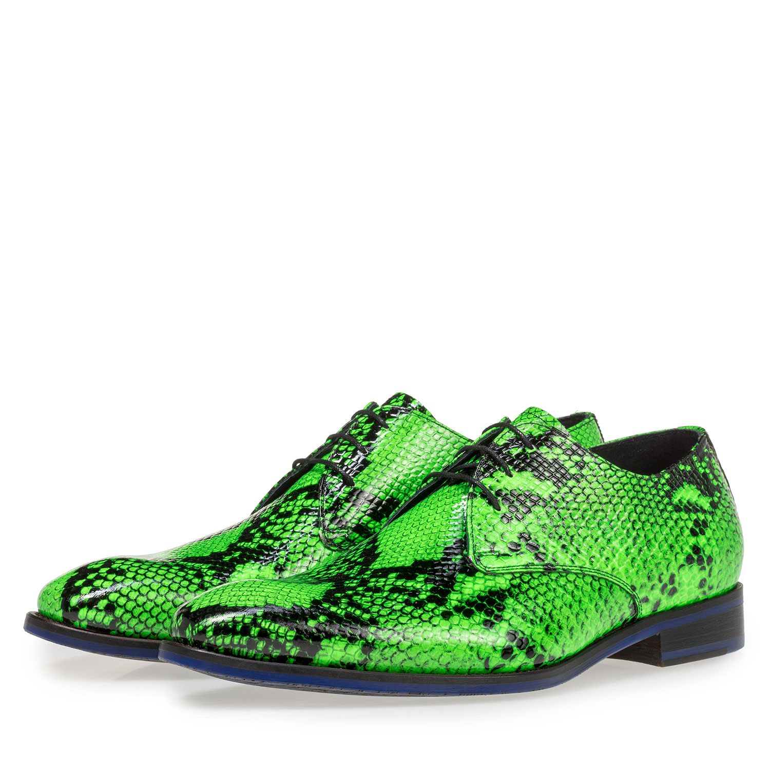18124/06 - Premium fluorescent green leather lace shoe with snake print