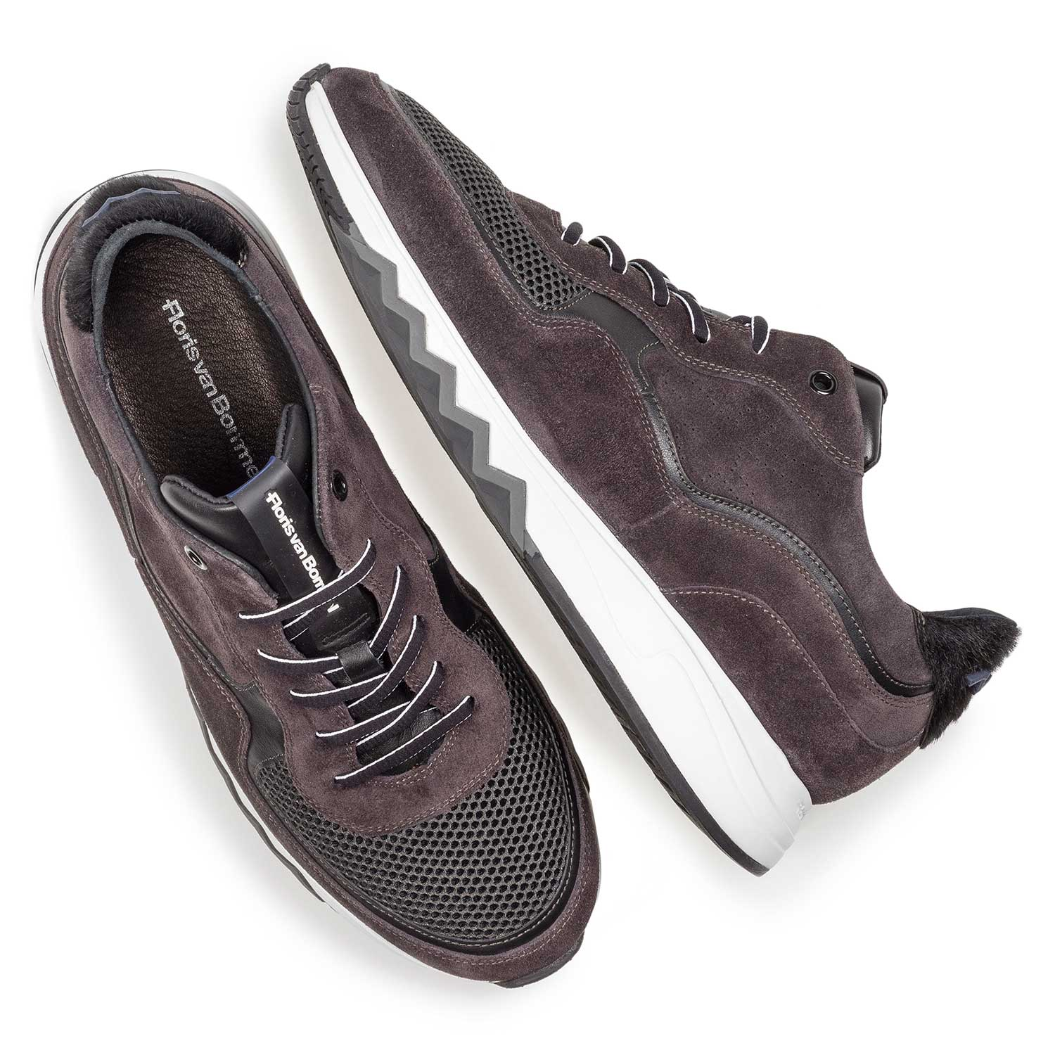 16093/16 - Anthracite and brown suede leather sneaker