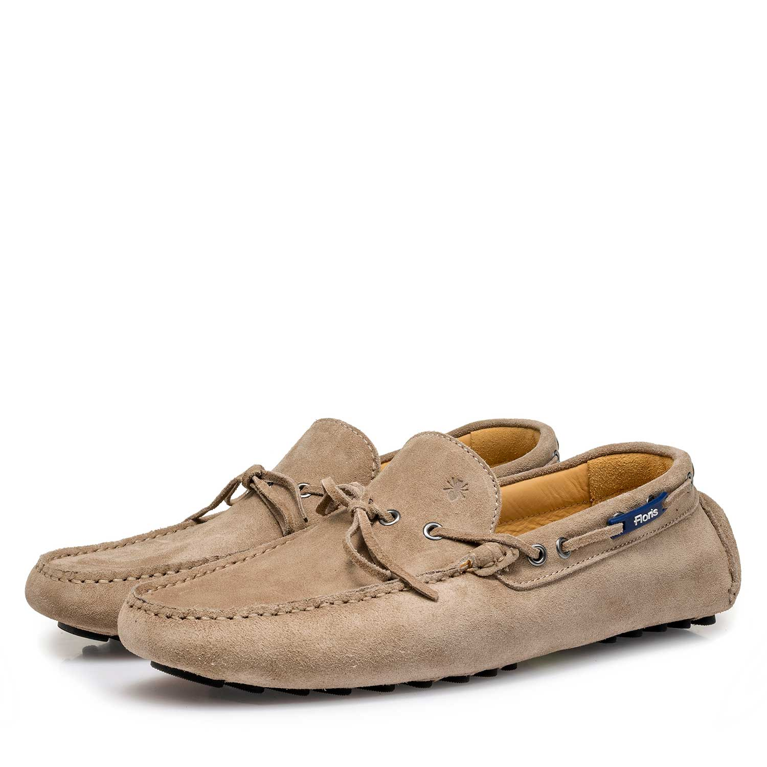 15214/03 - Taupe-coloured calf suede leather moccasin