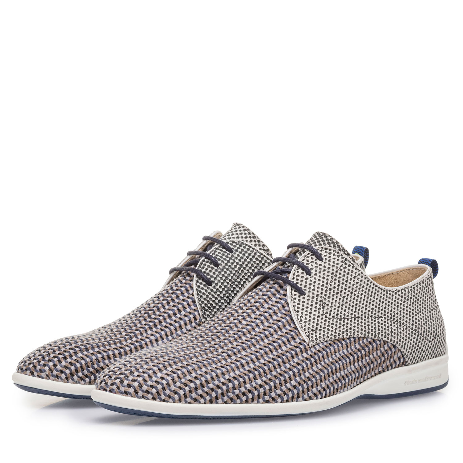 18302/06 - Grey suede leather lace shoe with print