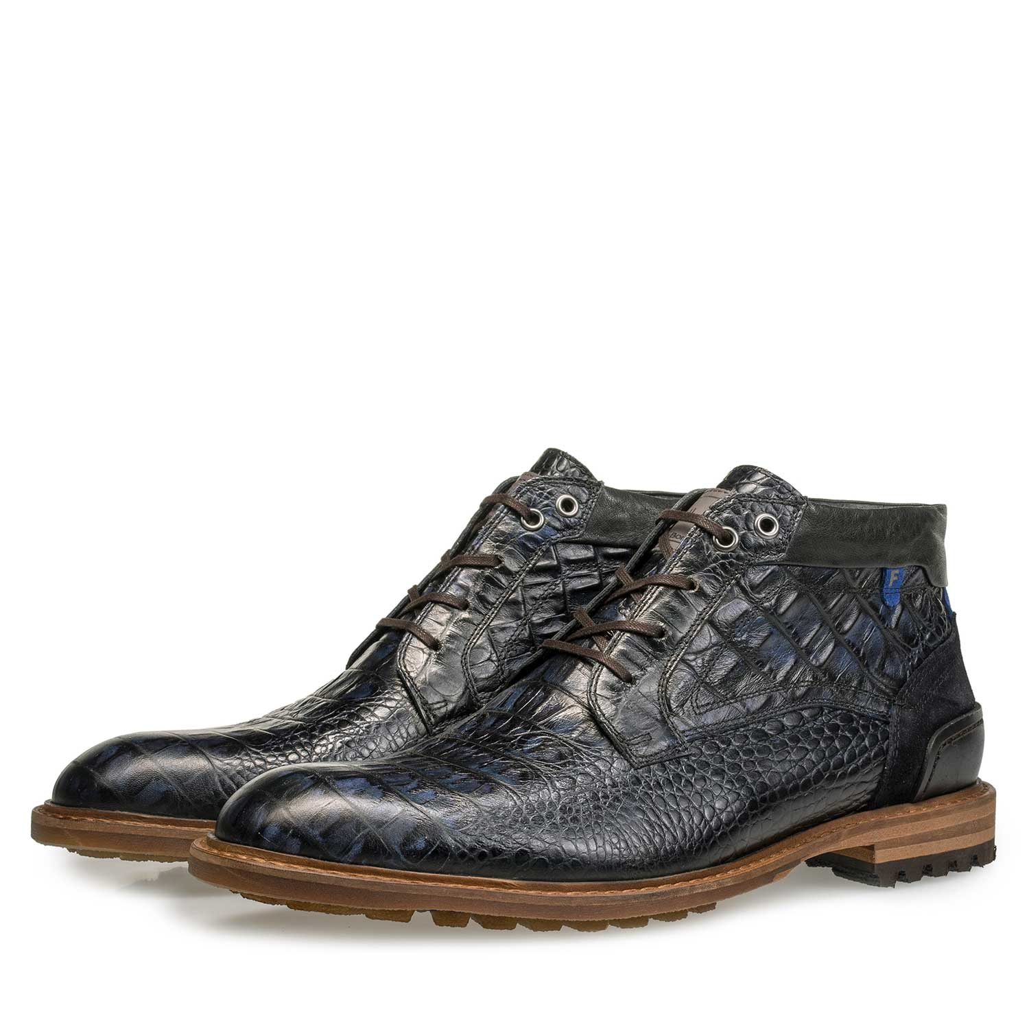 10228/13 - Blue leather lace boot with croco print