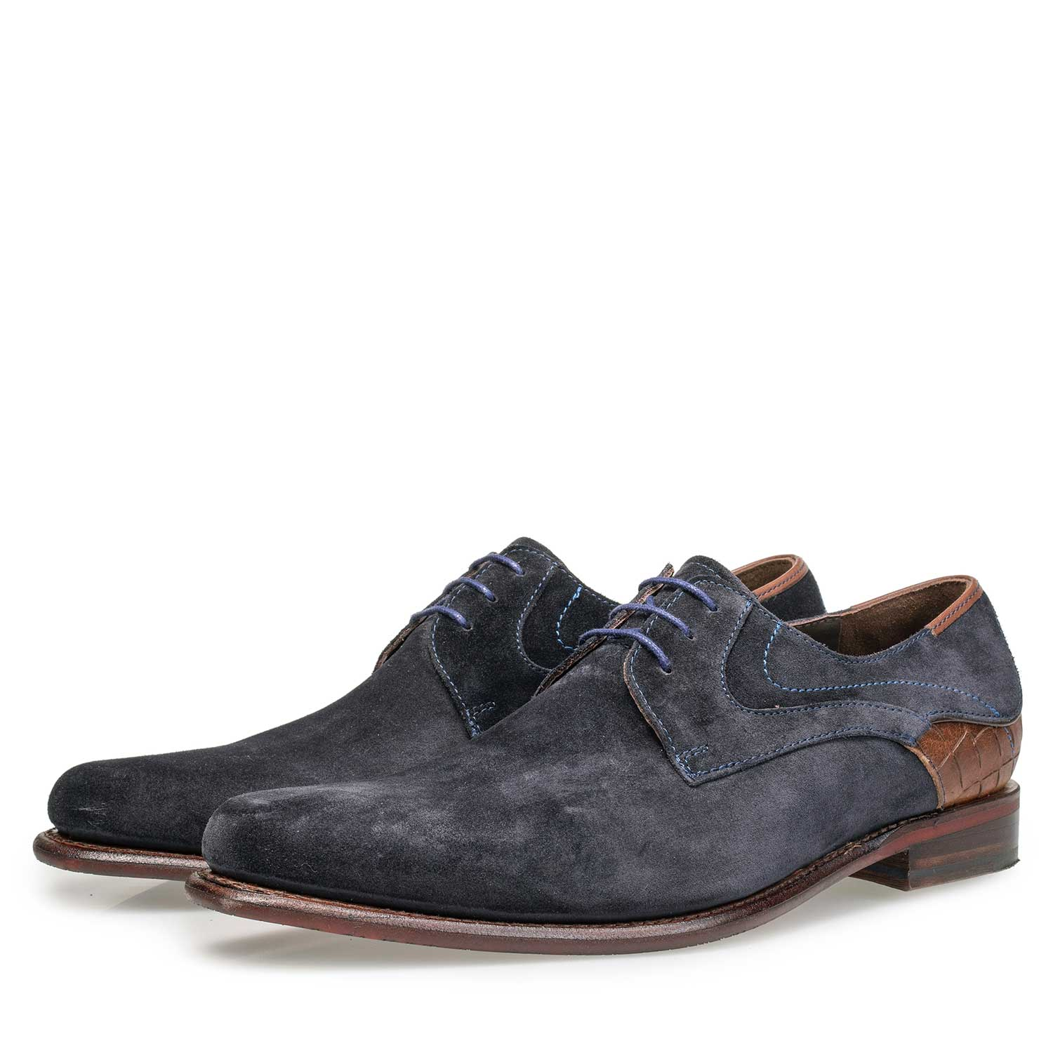 18079/00 - Dark blue calf suede leather lace shoe