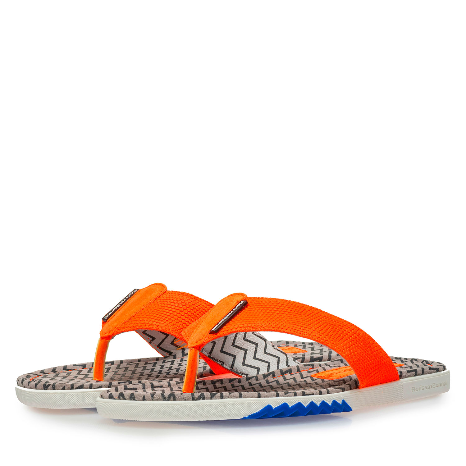 20201/19 - Orange suede leather thong slipper with print