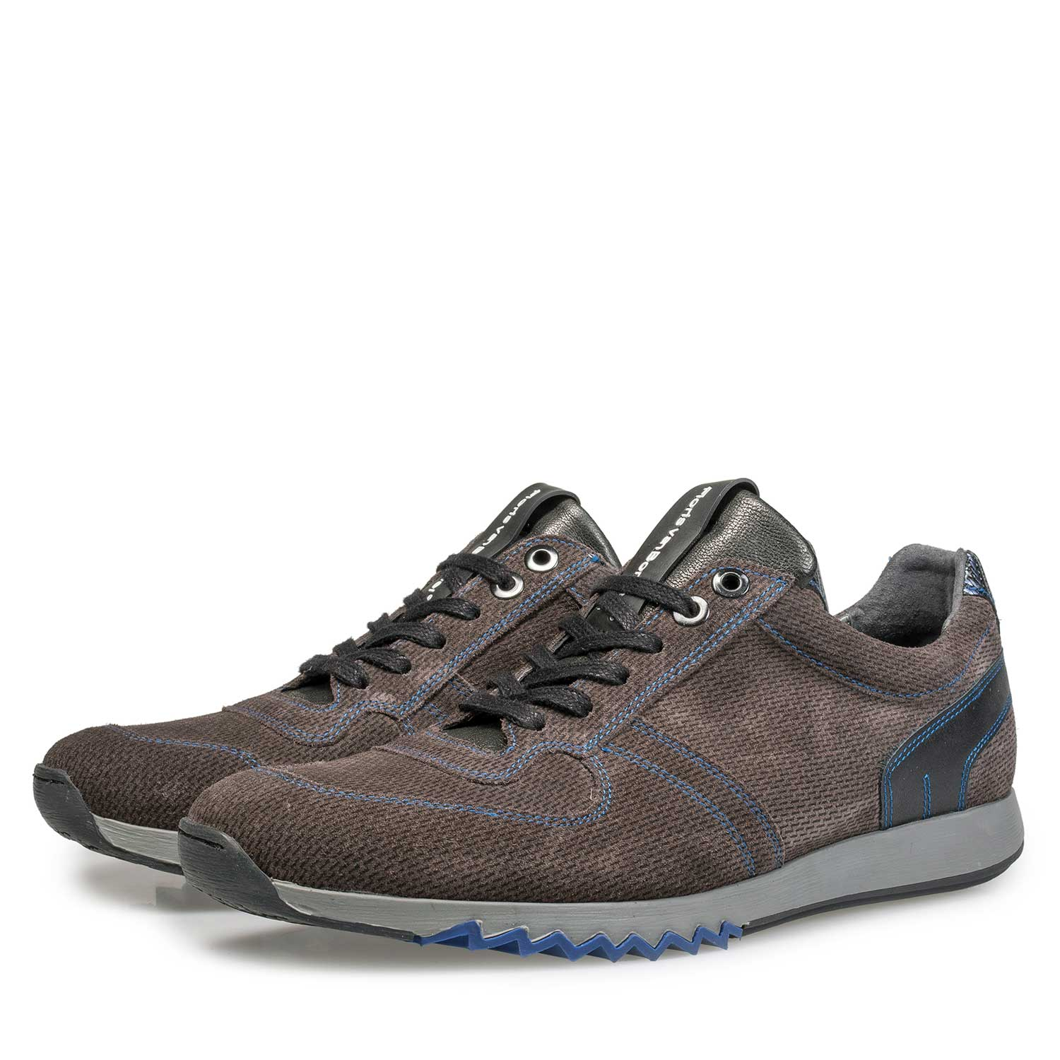 16171/08 - Grey-brown sneaker with cobalt blue details