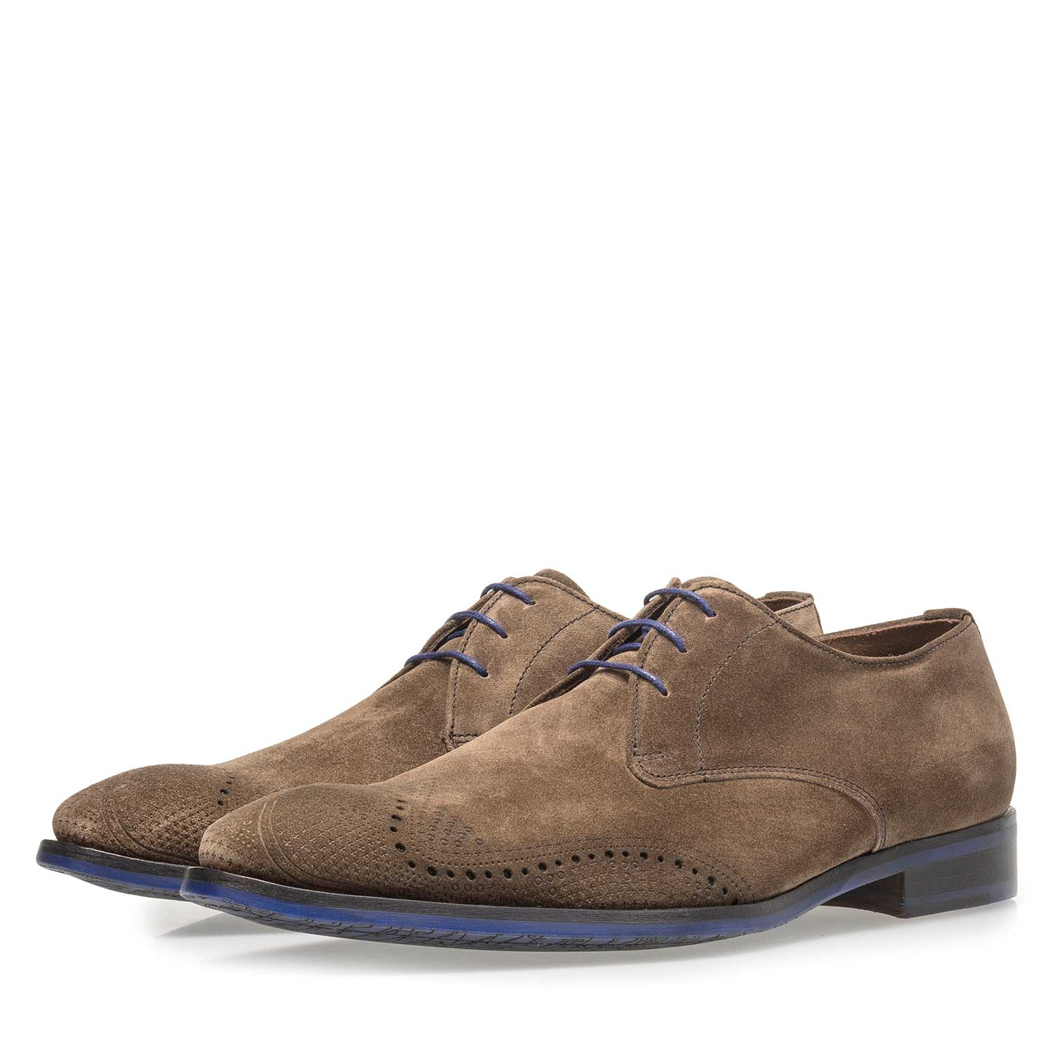 18175/04 - Dark taupe-coloured suede leather lace shoe