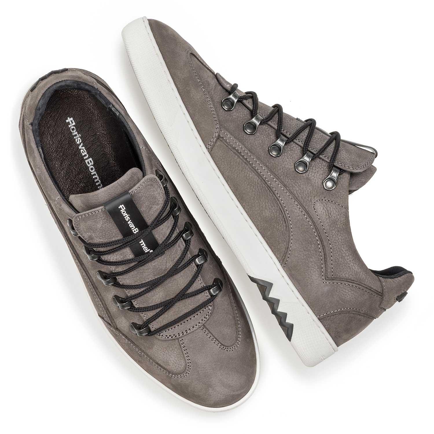 16464/02 - Dark grey nubuck leather lace shoe