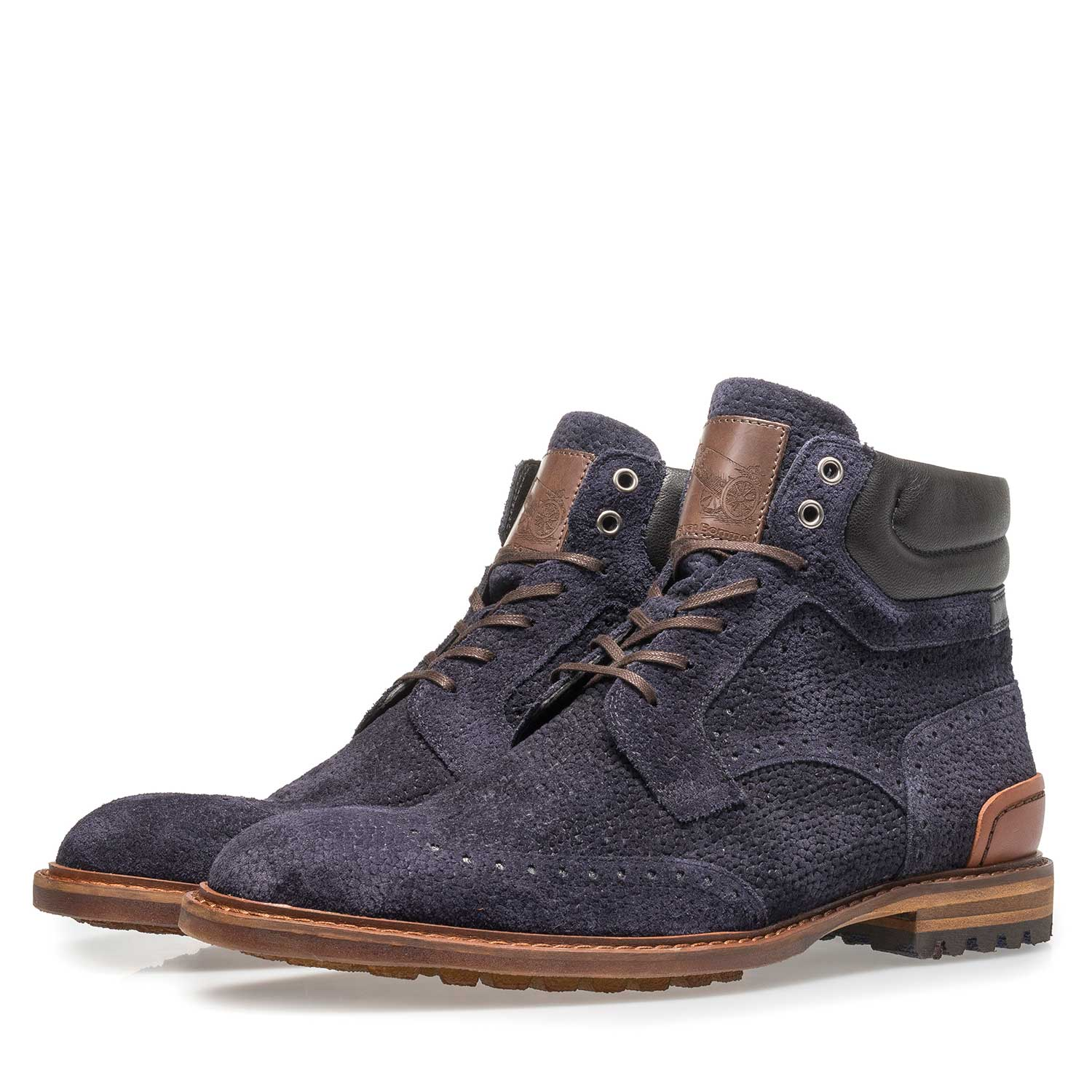 10816/02 - Dark blue suede lace boot with print