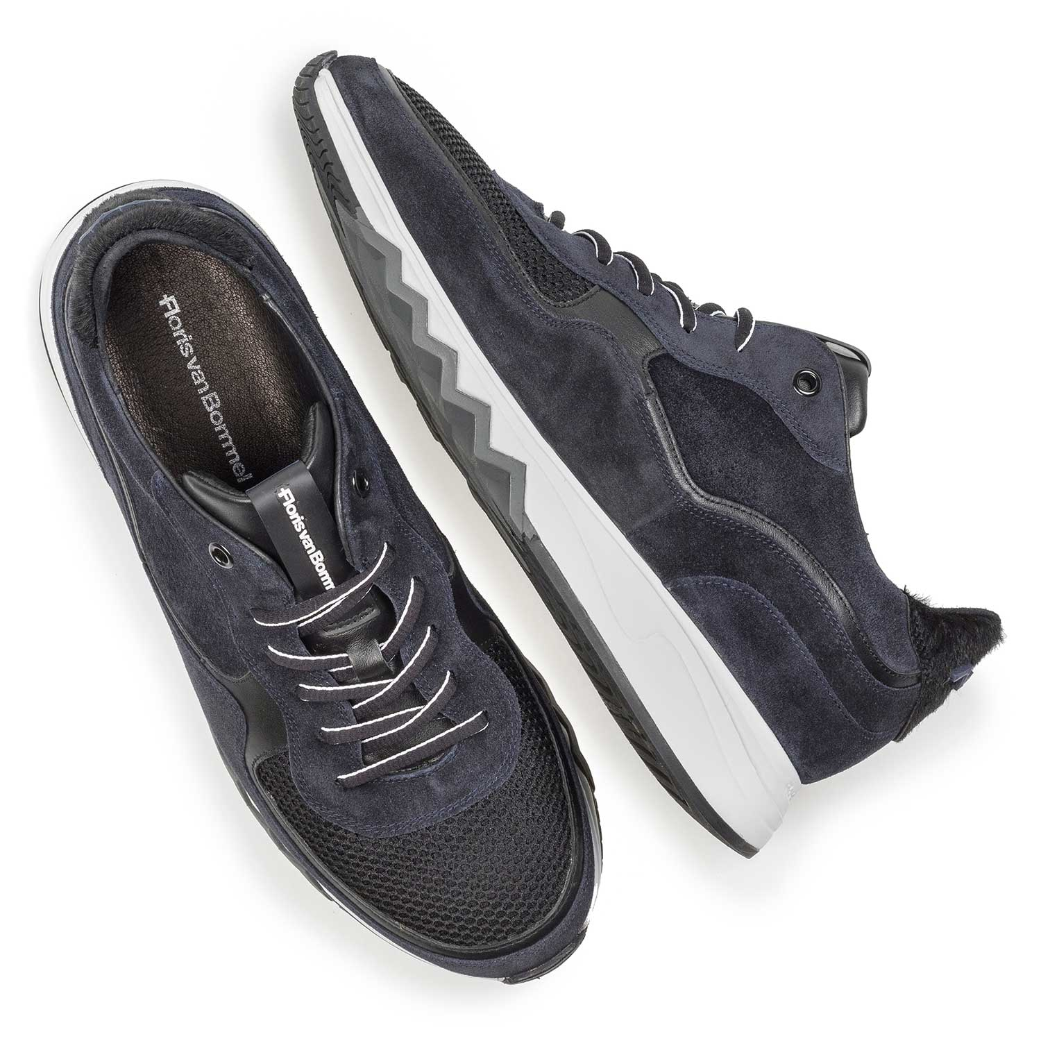 16093/17 - Dark blue suede leather sneaker