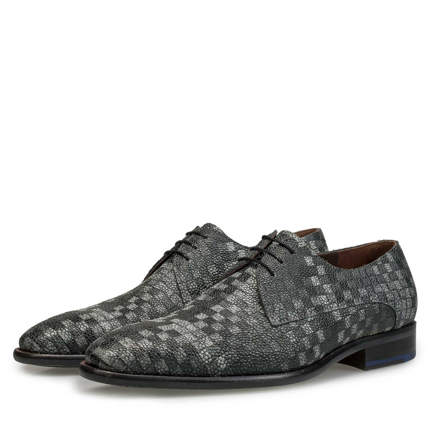 18069/02 - Grey printed calf's leather lace shoe