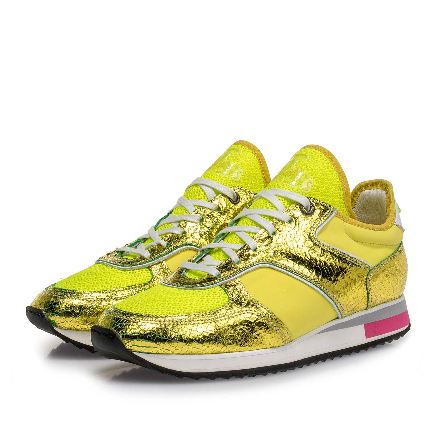 85261/01 - Yellow metallic leather sneaker with changing effect