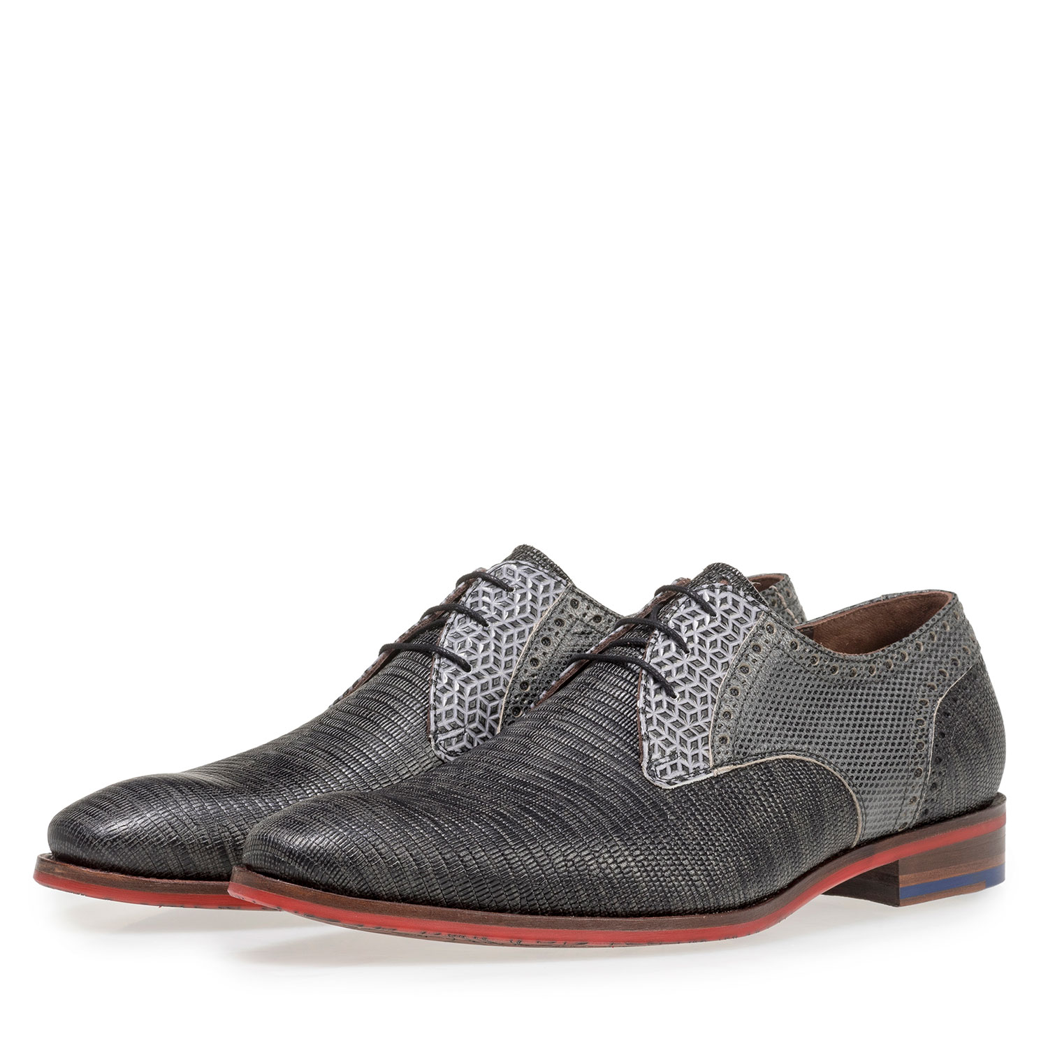 18107/06 - Grey leather lace shoe with lizard print