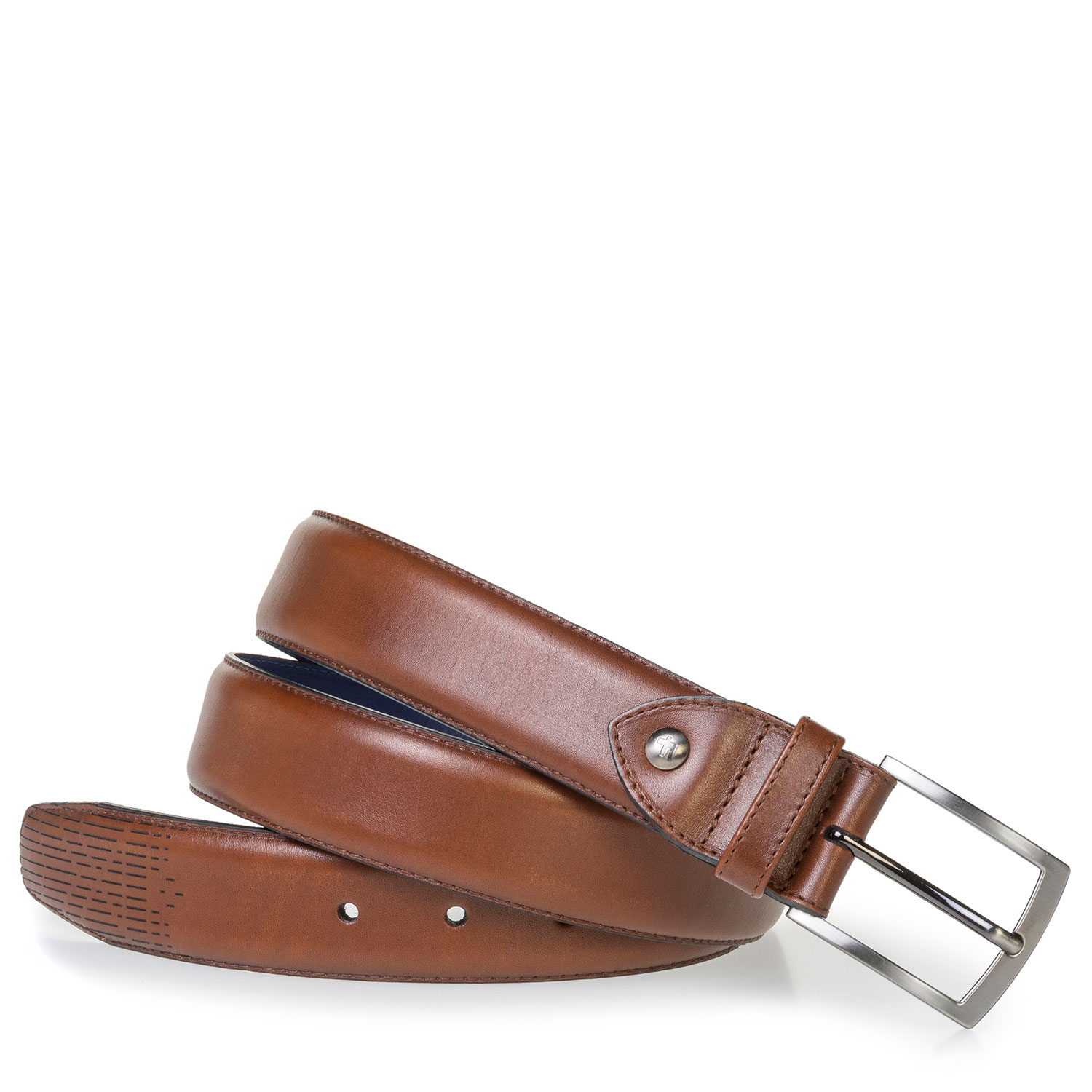 75214/00 - Dark cognac-coloured calf leather belt