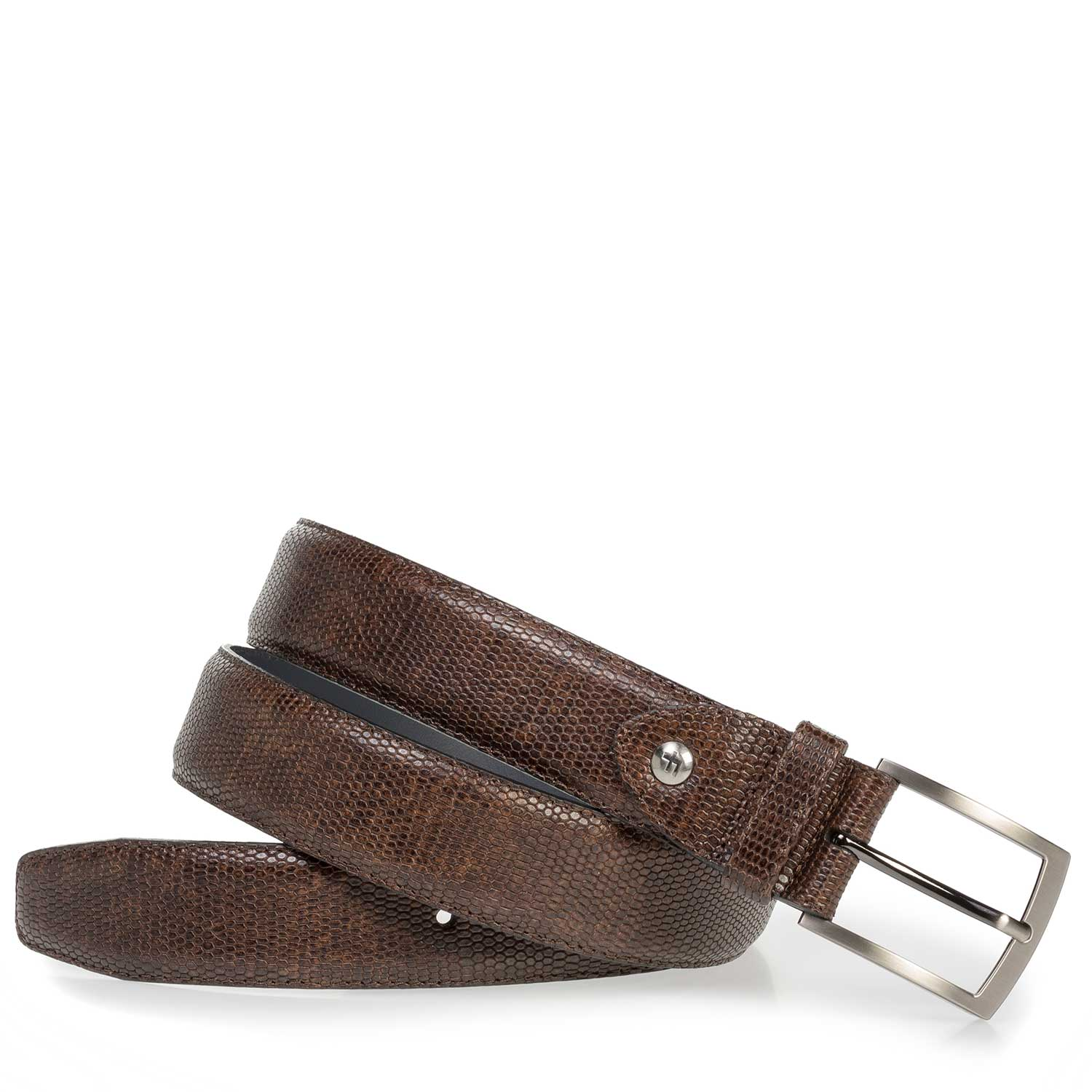75201/51 - Dark brown leather belt with lizard print