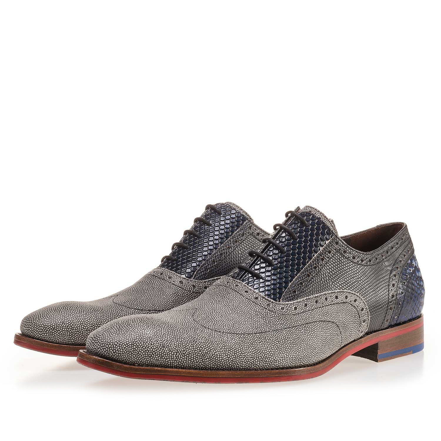 19114/00 - Grey, patterned suede leather lace shoe