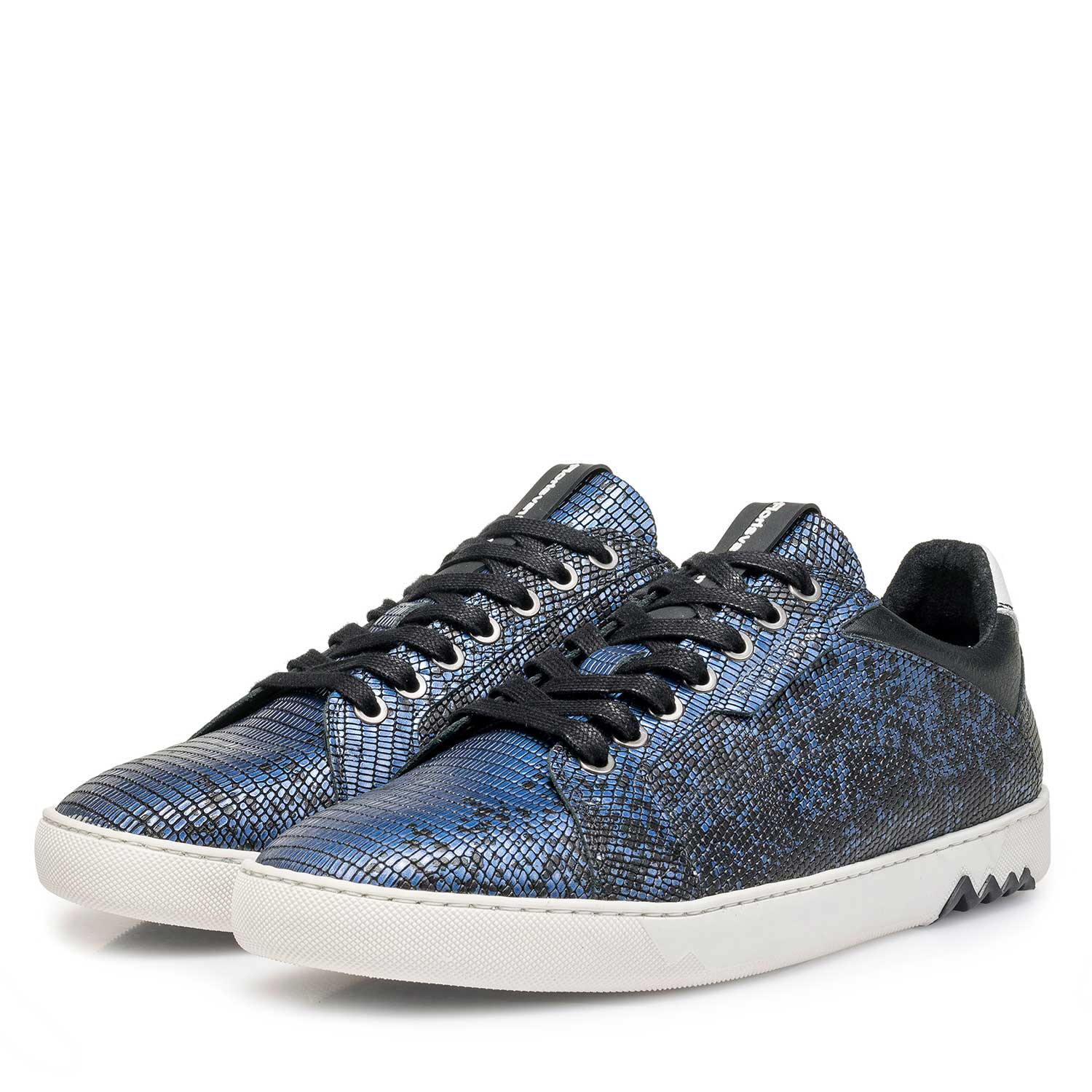 13342/01 - Blue premium leather lace shoe with metallic print