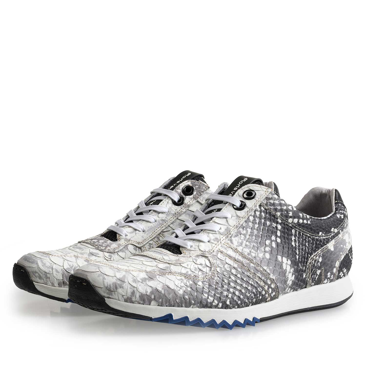 16227/13 - Grey leather sneaker with snake print