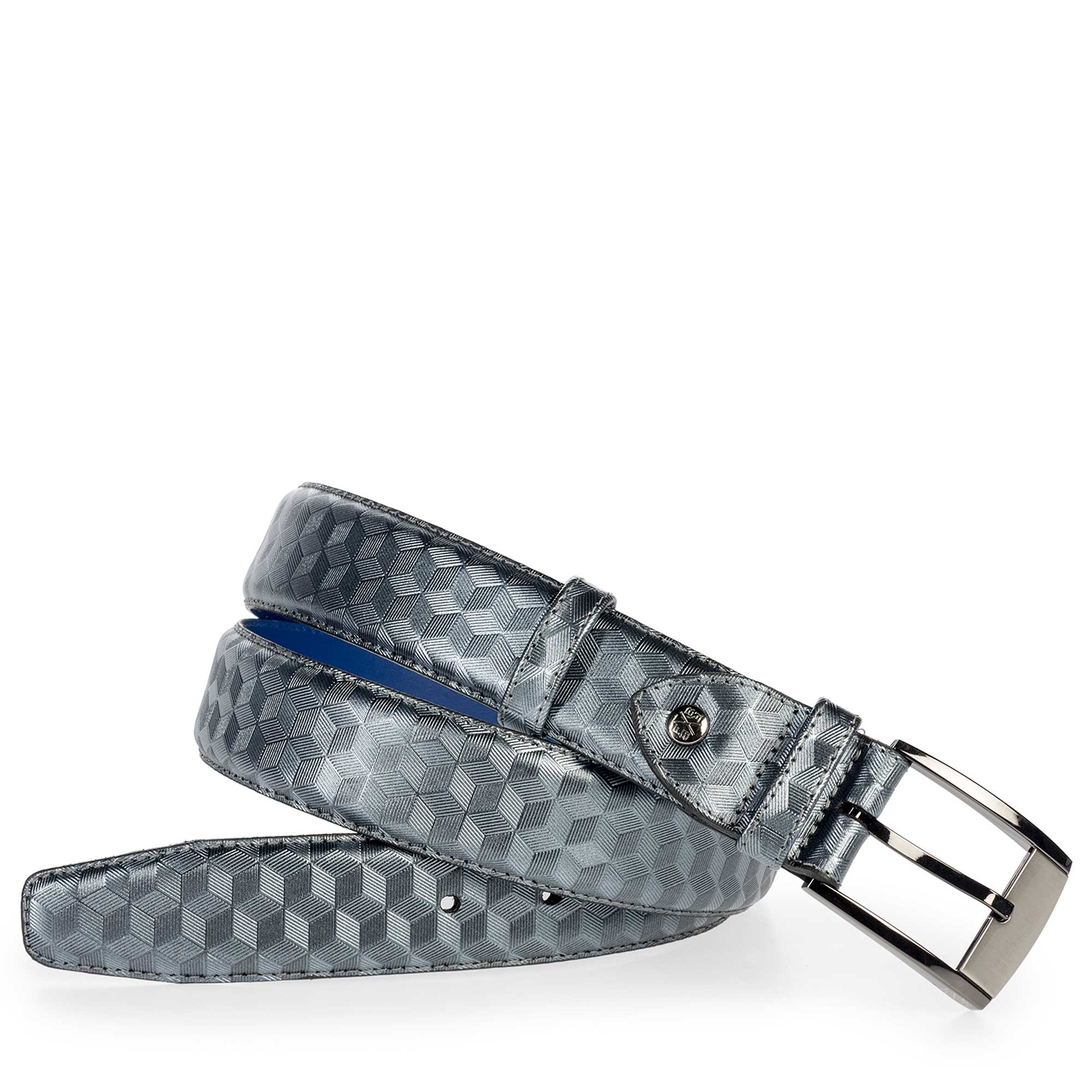 75180/39 - Grey leather belt finished with a hexagon print