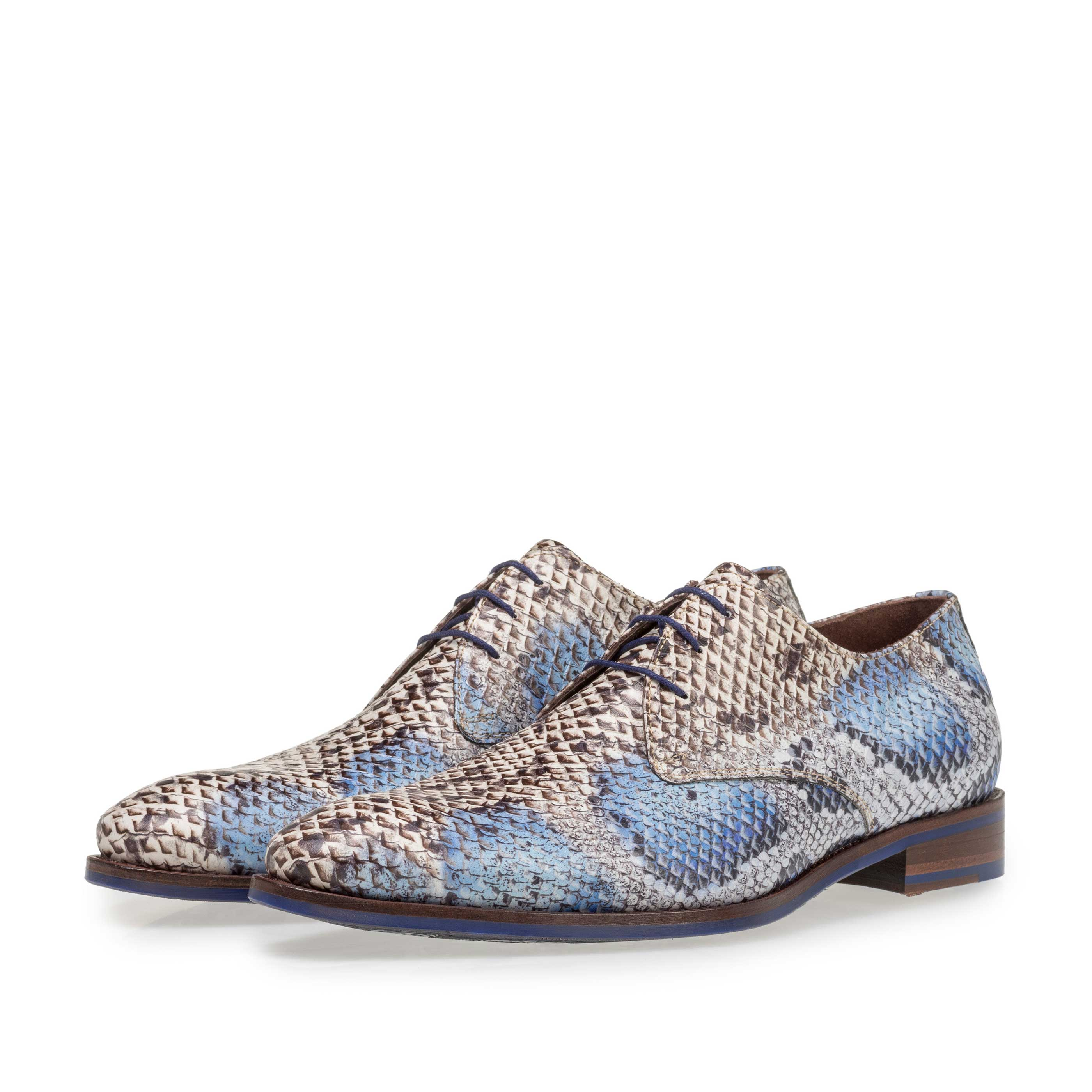 18224/00 - Premium lace shoe with a blue snake print