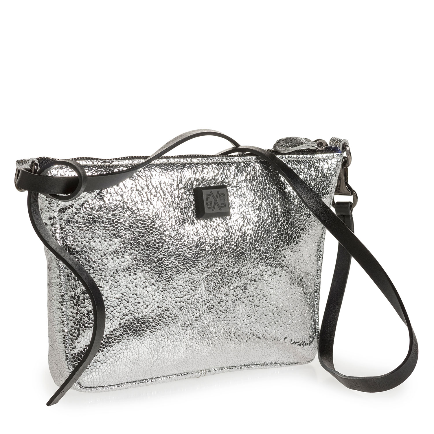 89019/14 - Silver leather bag with metallic print
