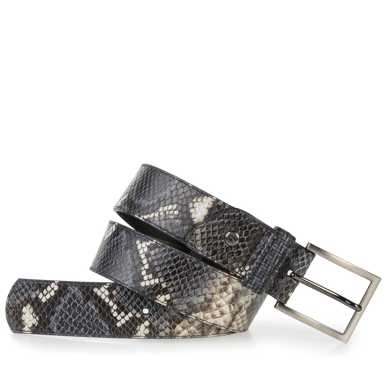 75179/02 - Blue calf's leather belt with a snake print
