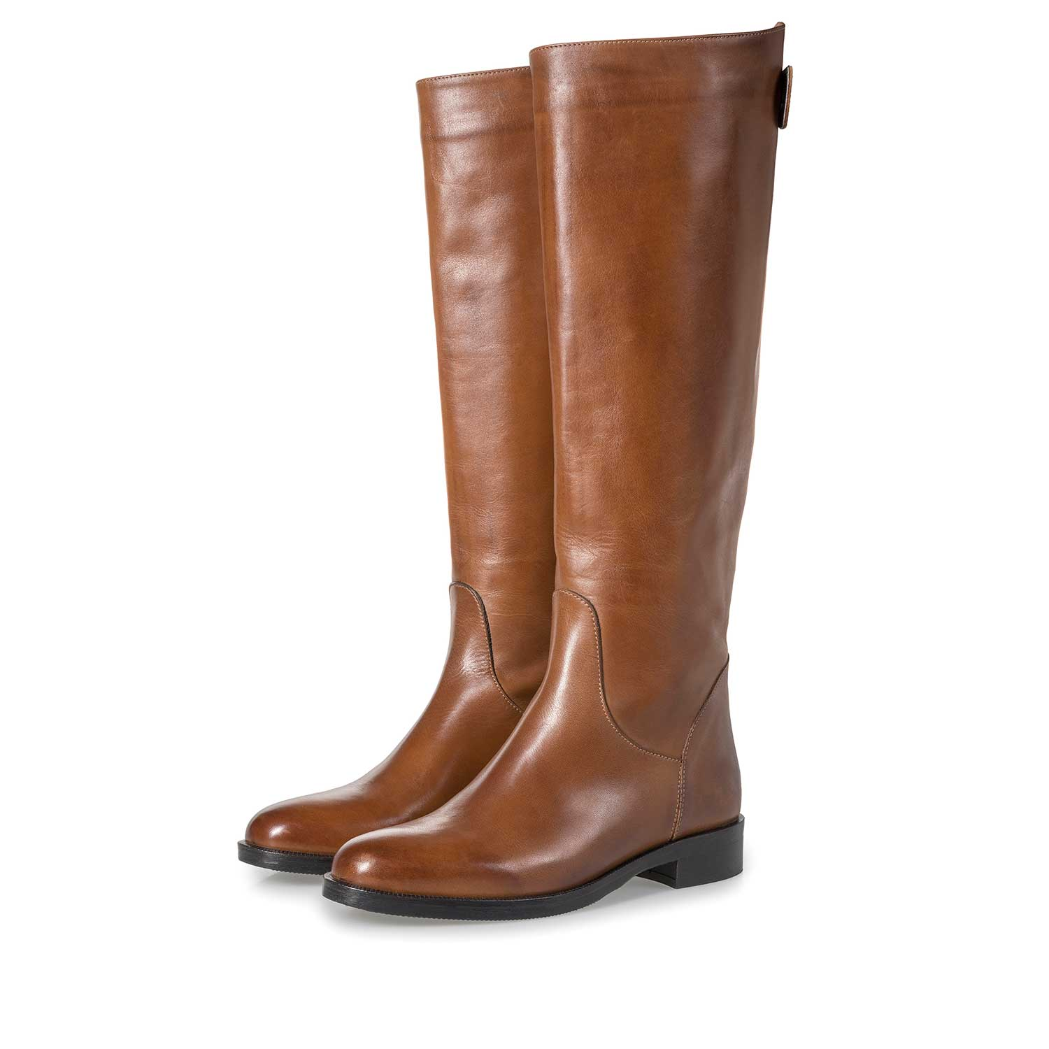 85715/02 - Cognac-coloured calf leather high boots