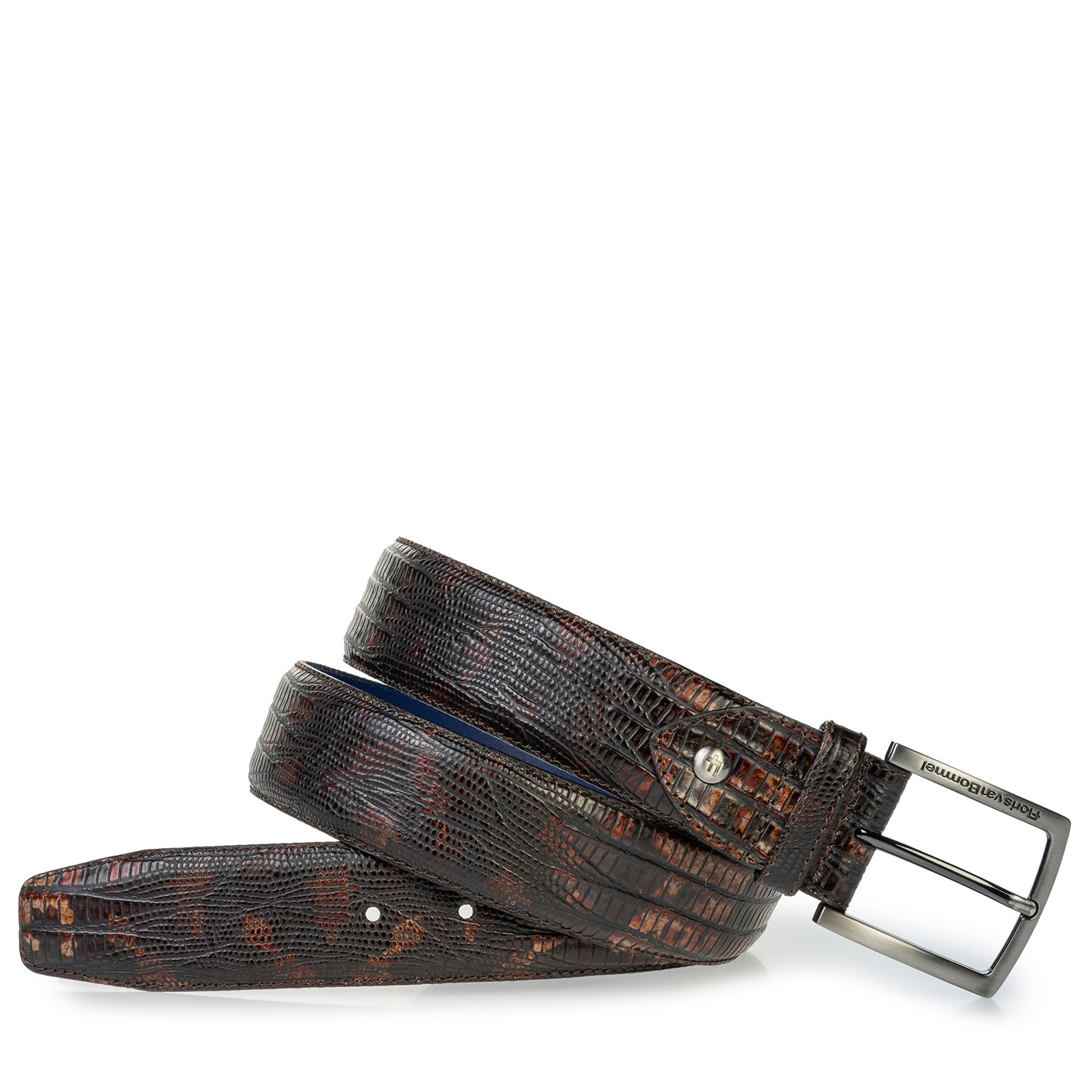 75202/70 - Leather belt lizard print cognac