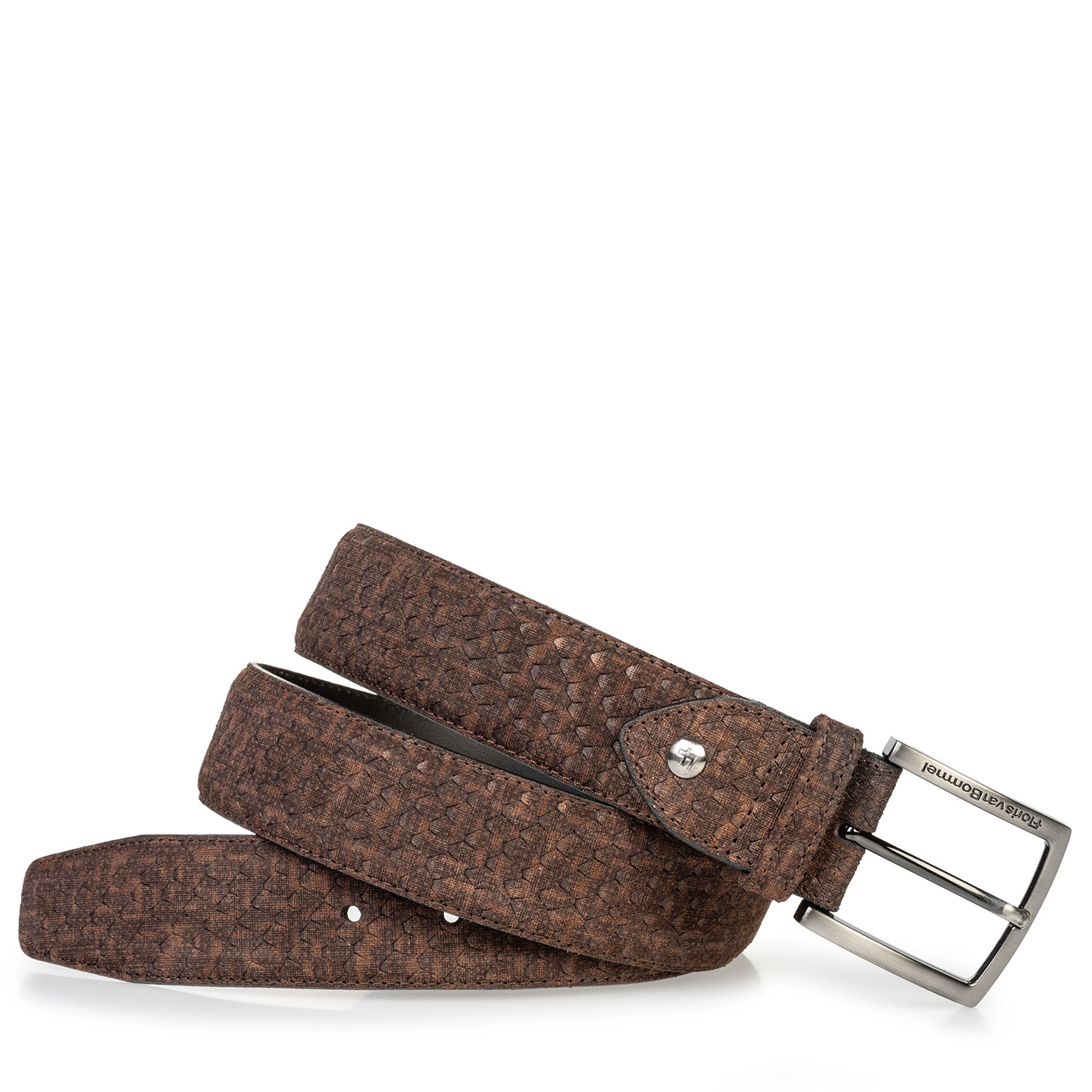 75204/07 - Suede leather belt dark brown with print