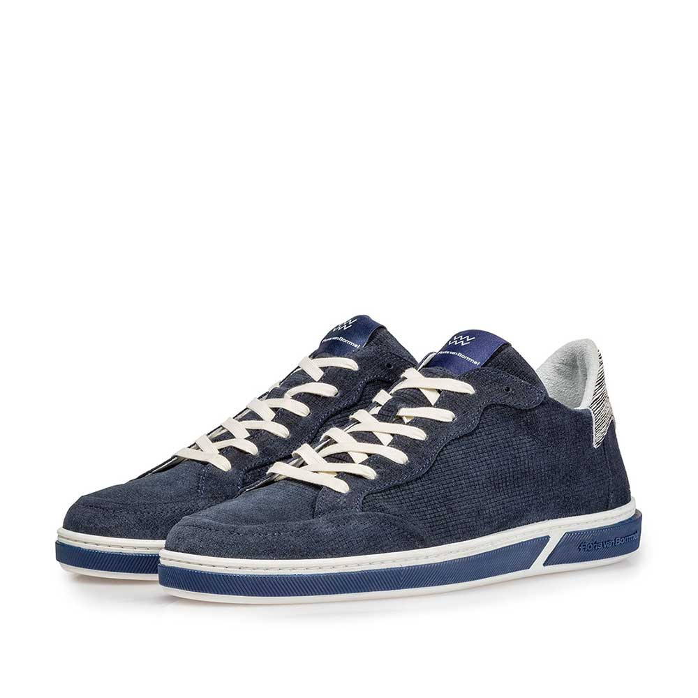 13350/11 - Dark blue suede leather lace shoe with print