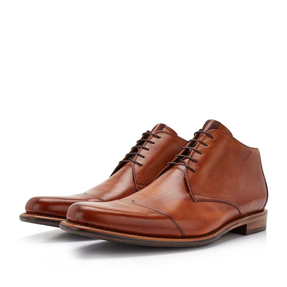 10077/11 - Floris van Bommel cognac coloured leather half-high men's lace-up boot