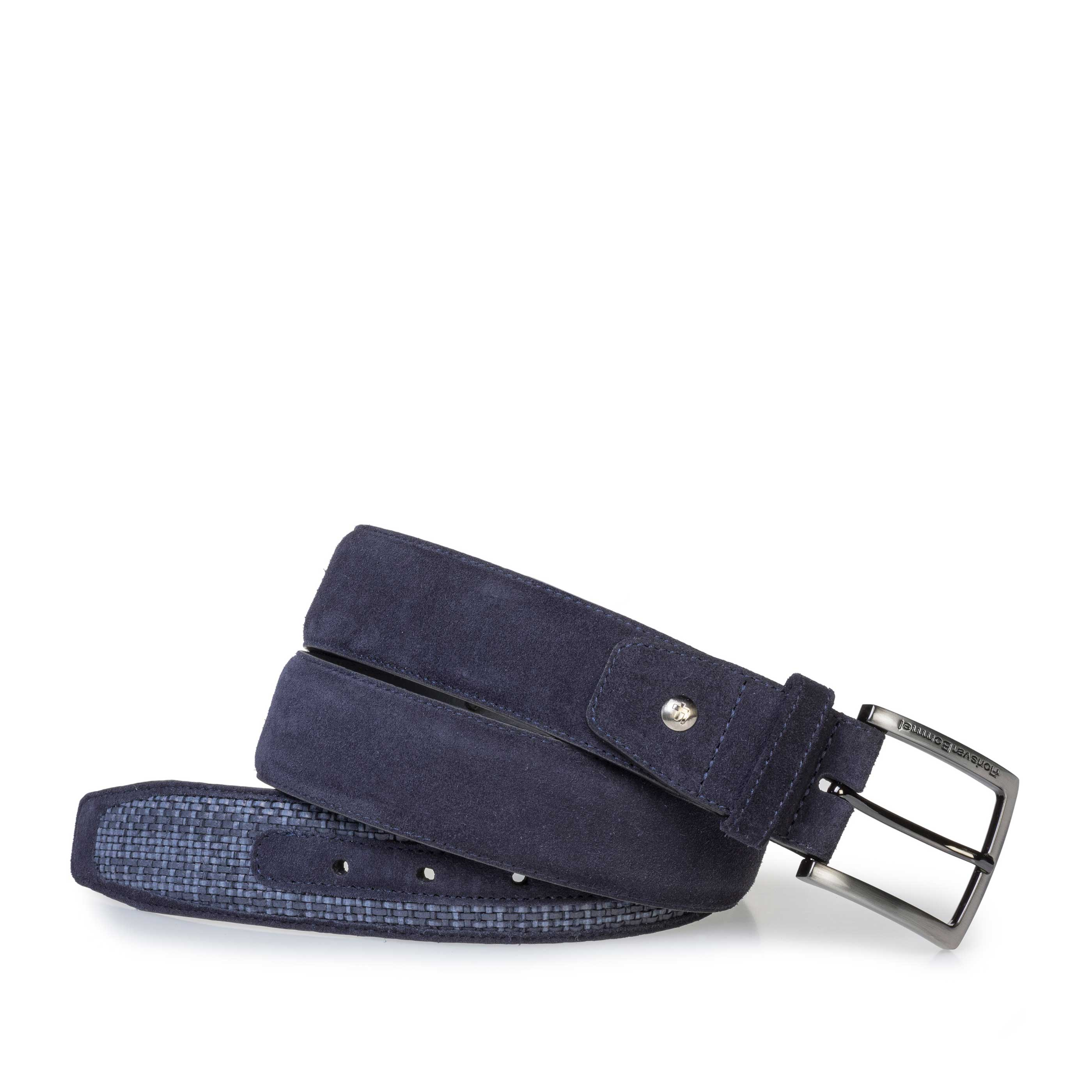 75159/28 - Dark blue braided suede leather belt