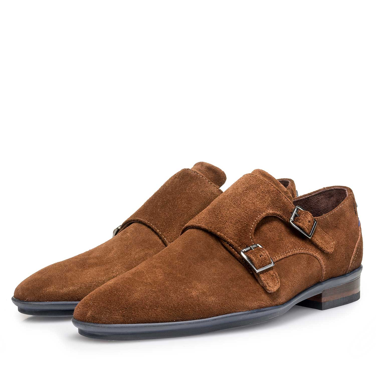 12132/09 - Brown calf suede leather double buckle monk strap