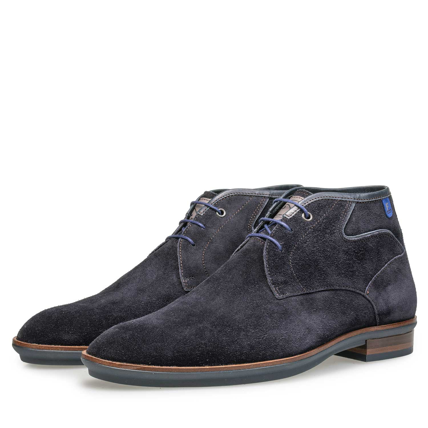 10156/03 - Dark blue suede leather lace boot