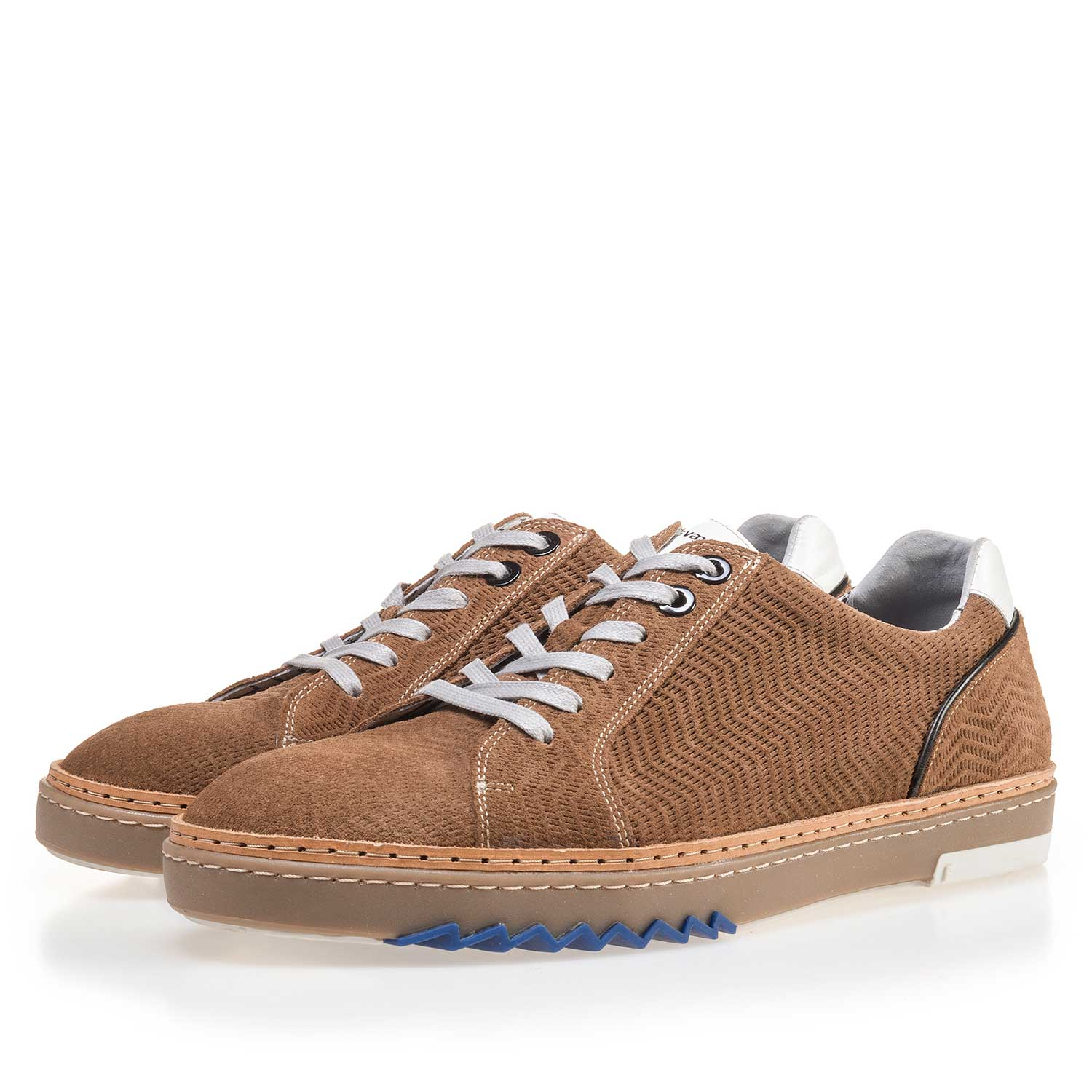 14057/06 - Cognac-coloured, patterned leather sneaker