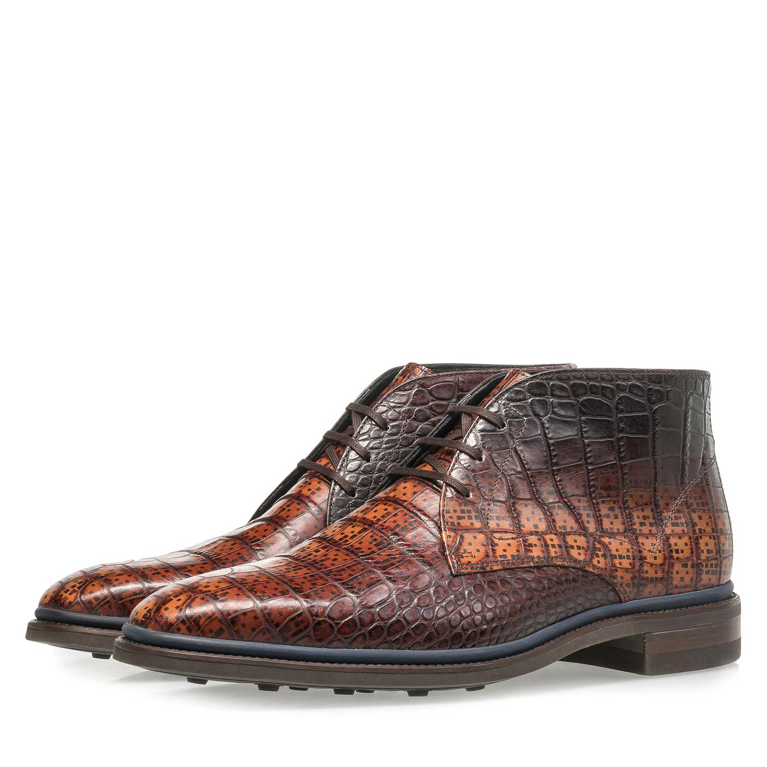 10623/01 - Premium cognac-coloured croco leather lace shoe