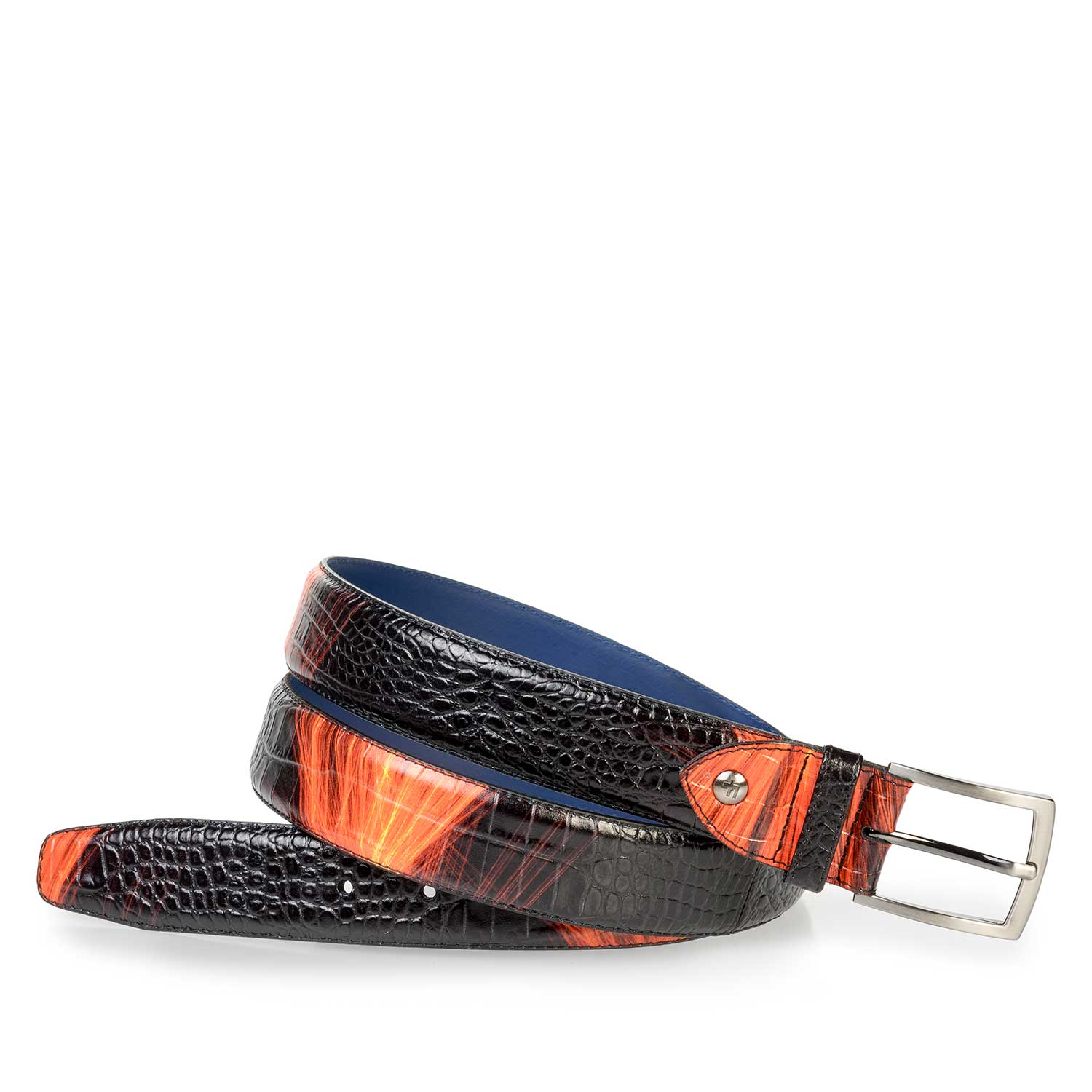 75201/44 - Premium red calf leather belt with lightning bolt print