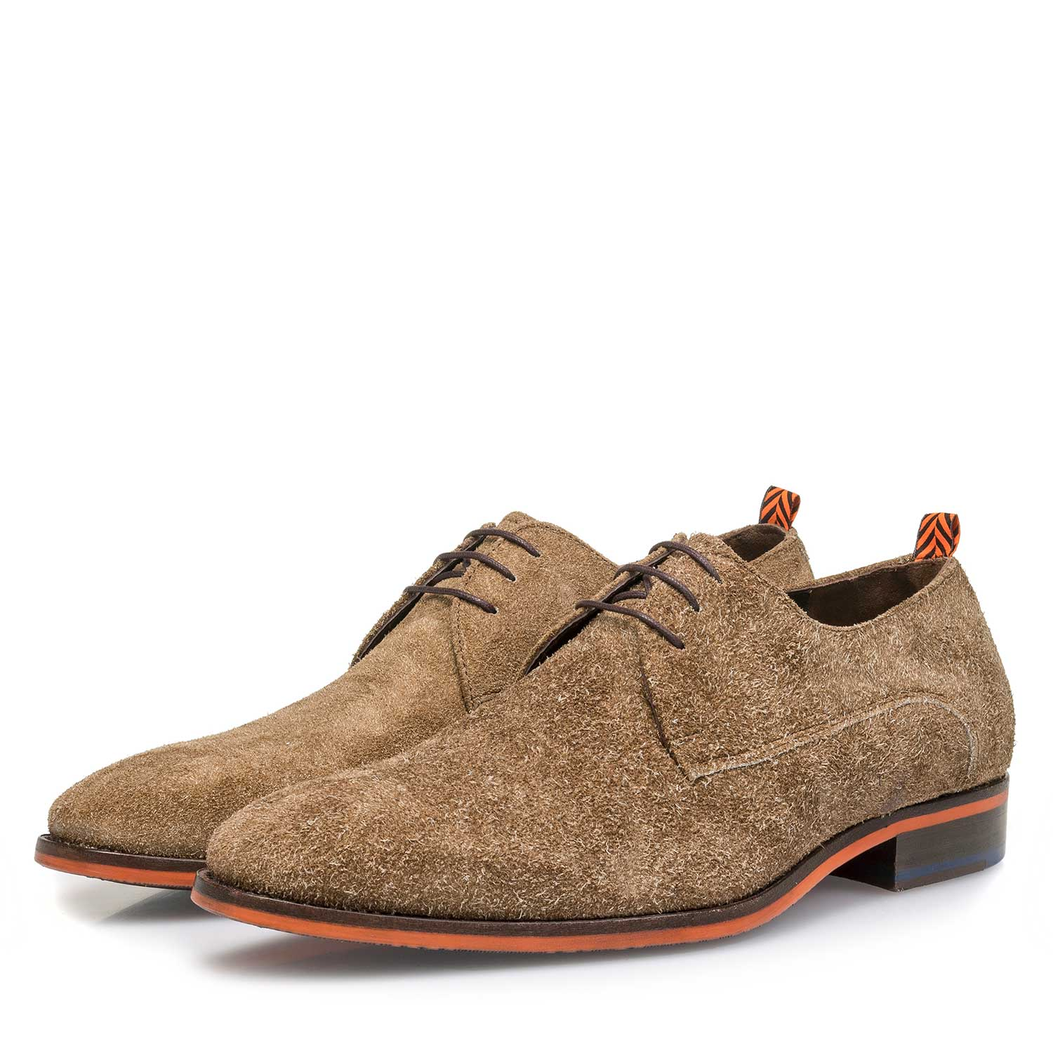 18092/03 - Brown buffed suede leather lace shoe