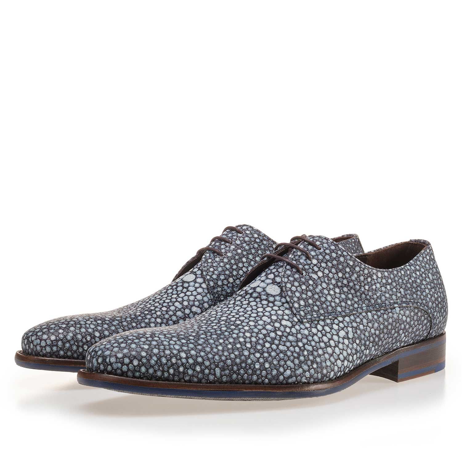 14194/03 - Blue, patterned calf's leather lace shoe