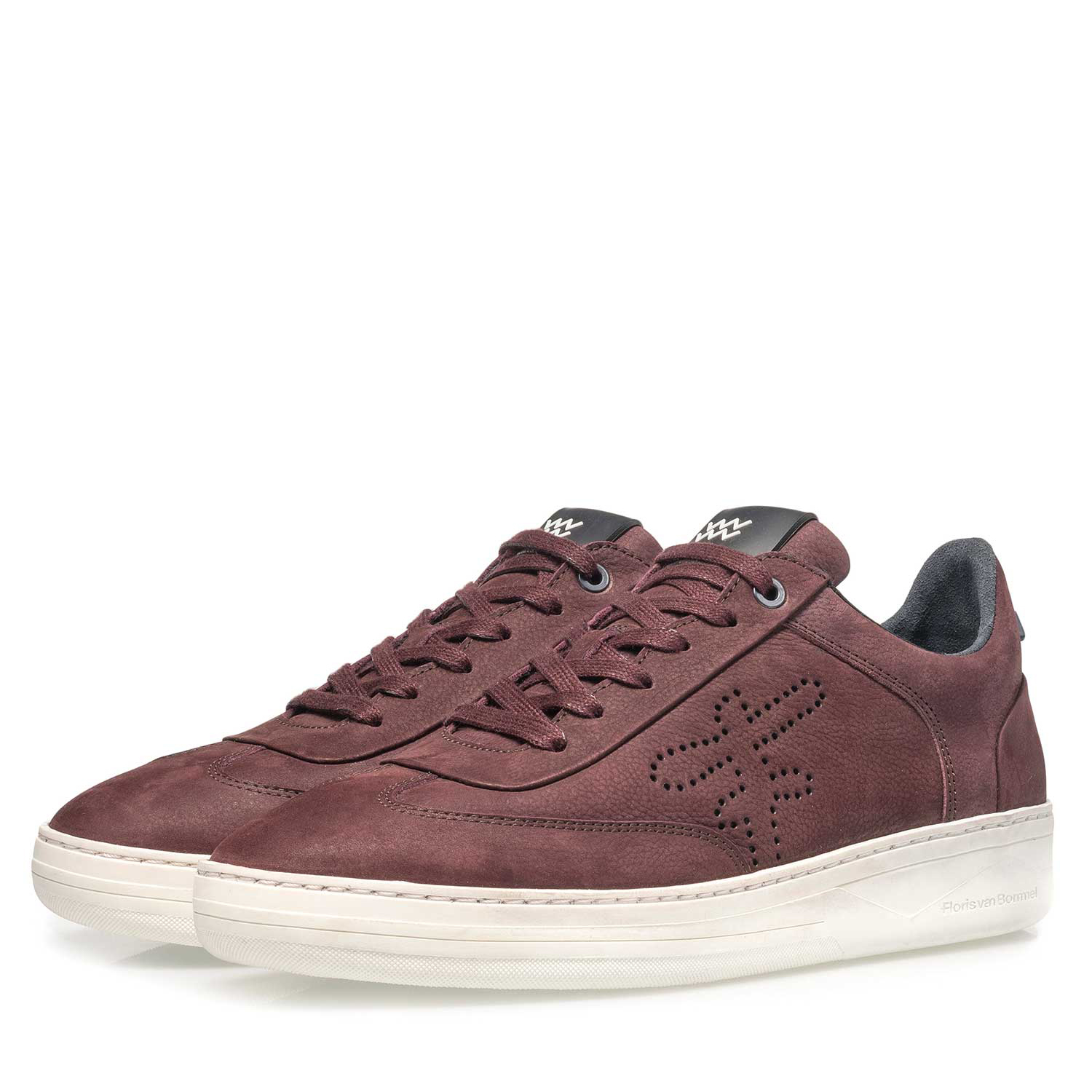 16255/10 - Premium red printed nubuck leather sneaker