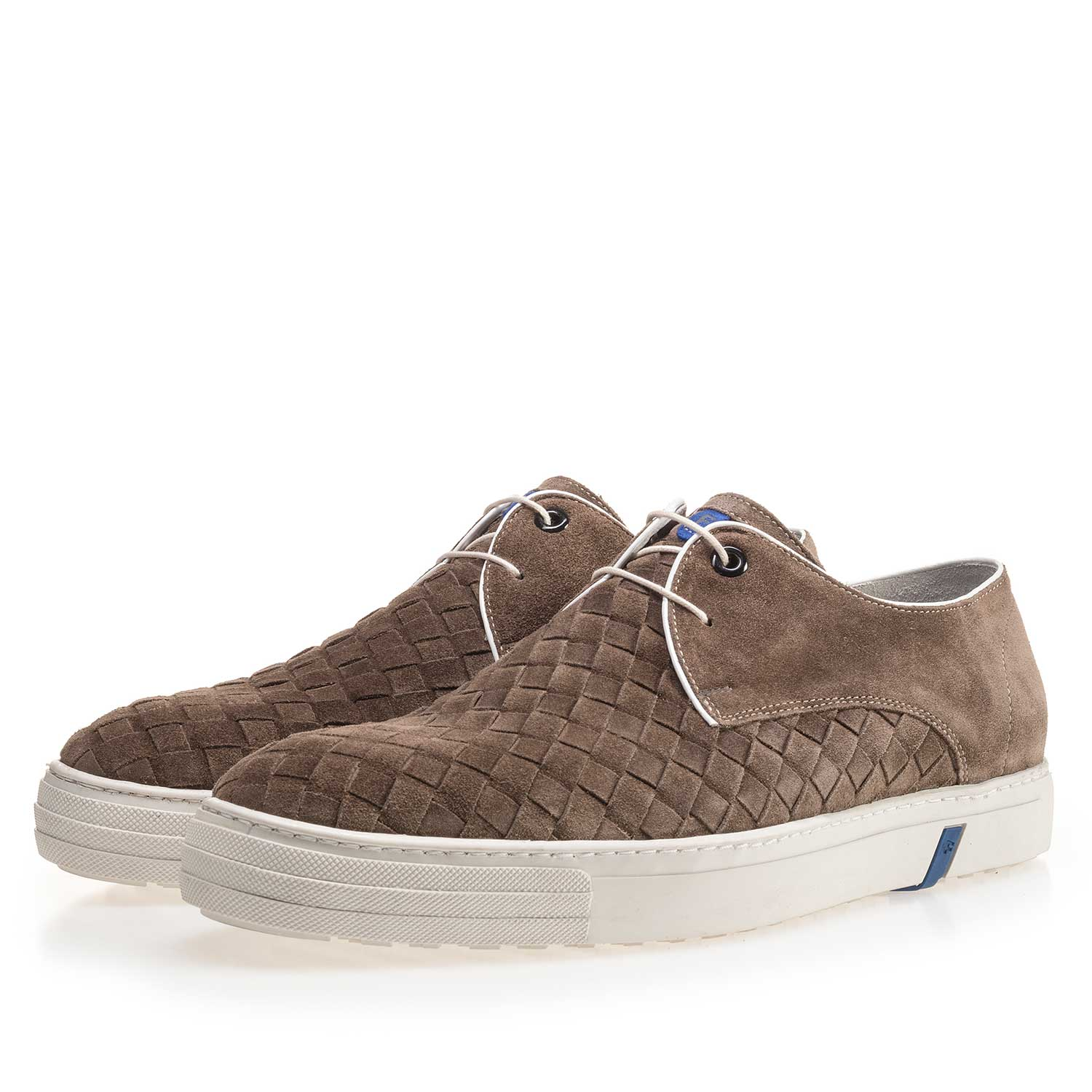 14451/05 - Taupe-coloured lace shoe made of braided leather