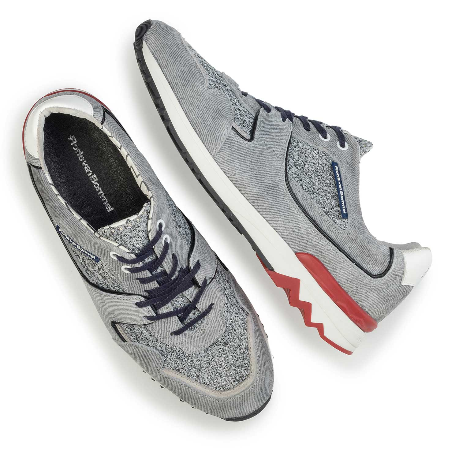 16220/06 - Light grey, printed suede leather sneaker