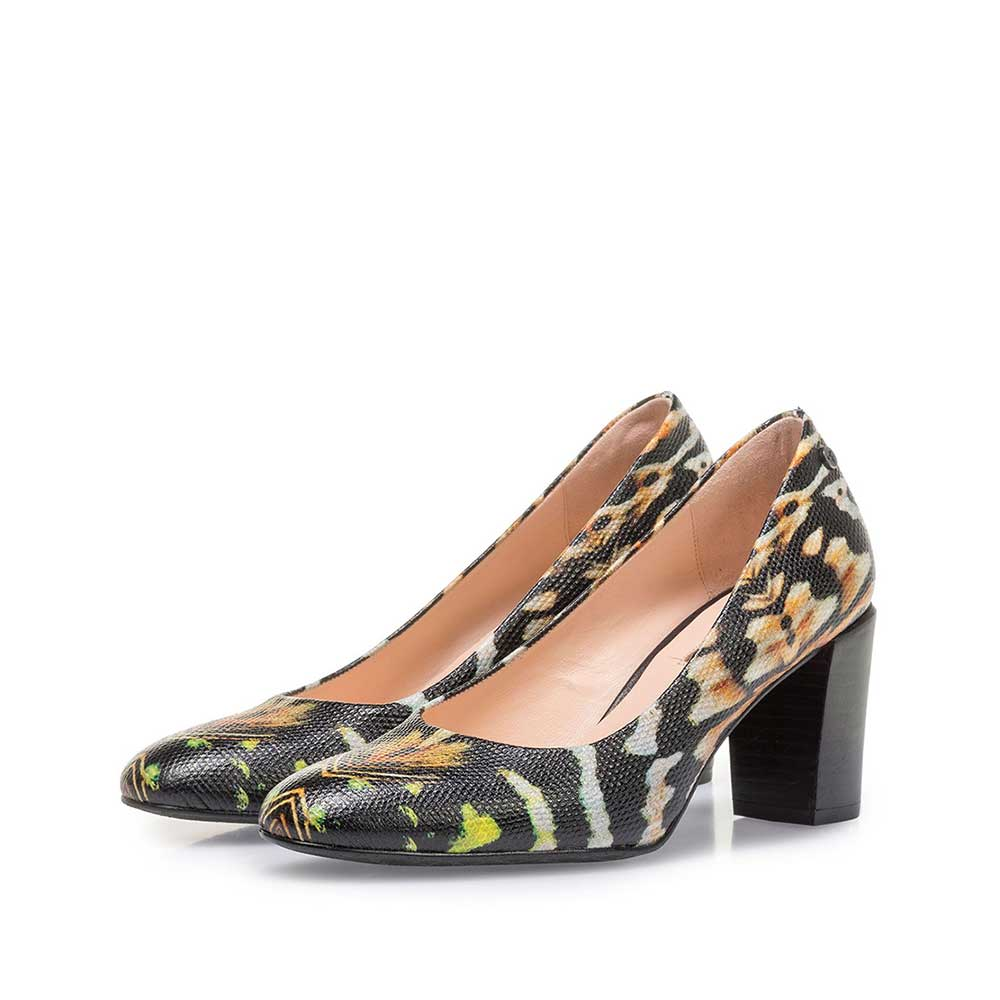 85536/05 - Black leather pumps with orange-coloured print