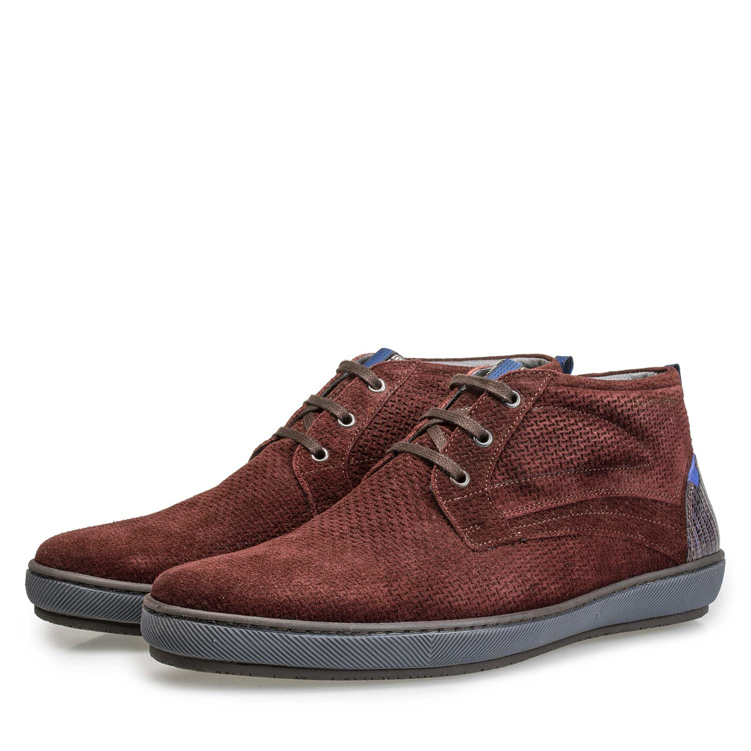 10074/00 - Burgundy red lace boot made of calf's suede leather