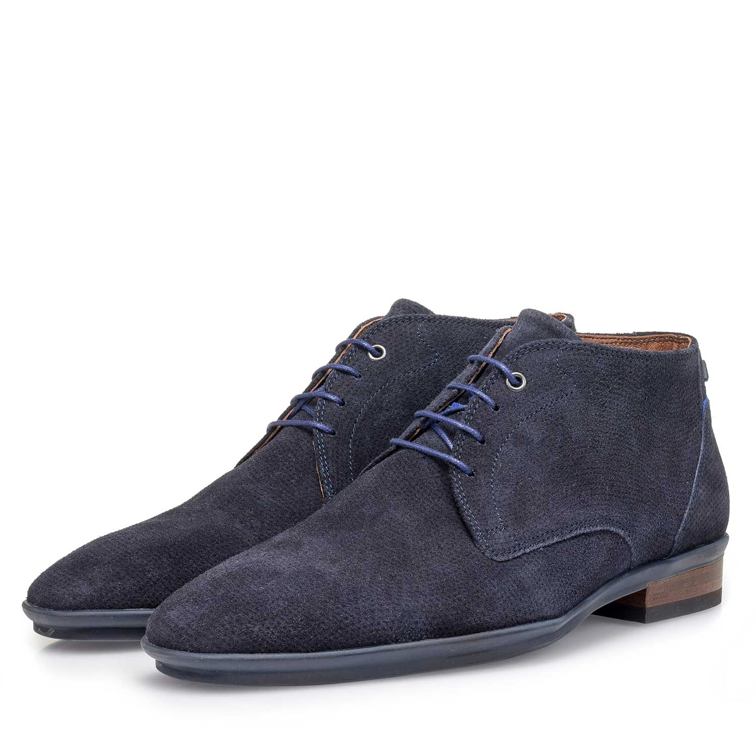 10475/16 - Blue suede leather lace shoe