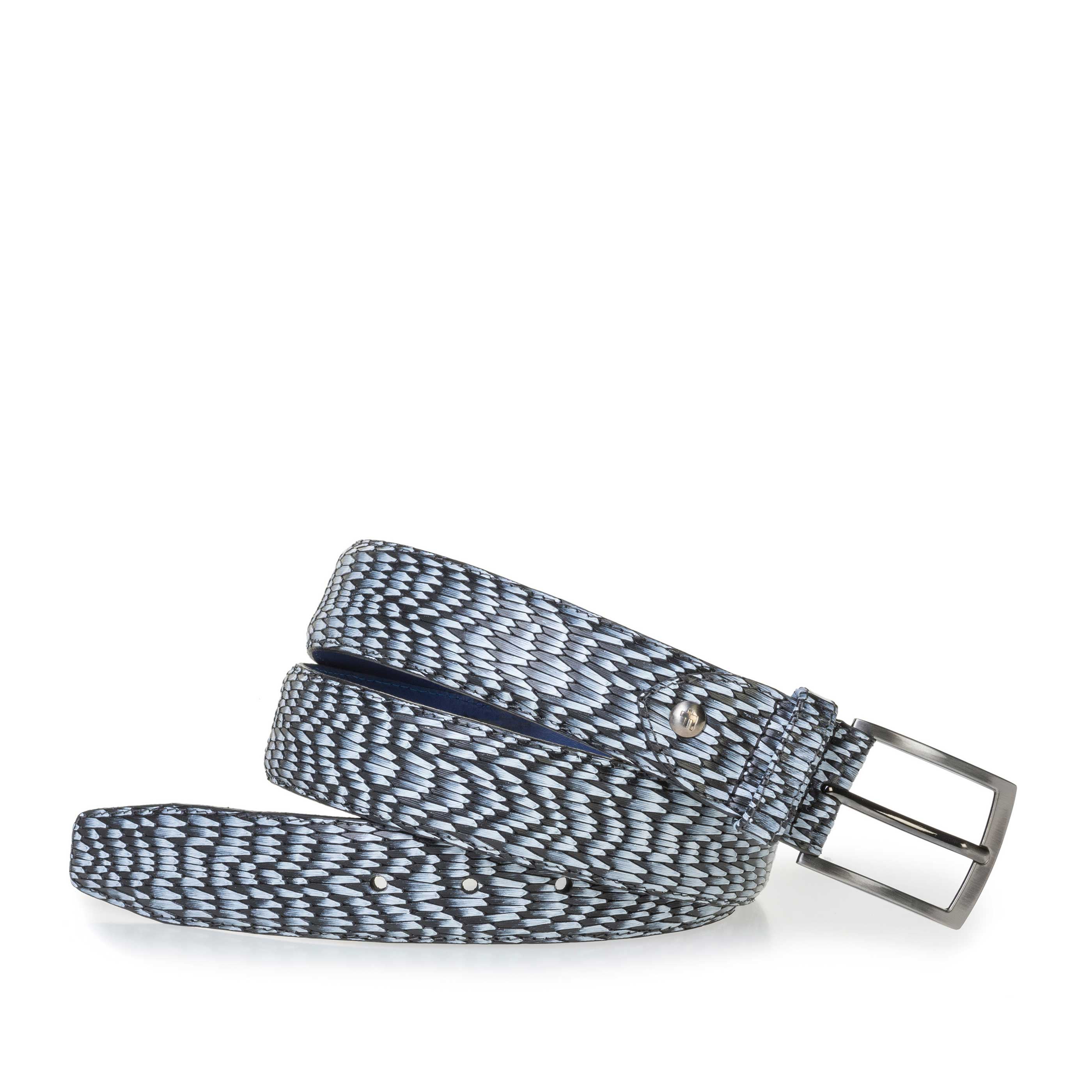 75200/73 - Grey leather belt with print
