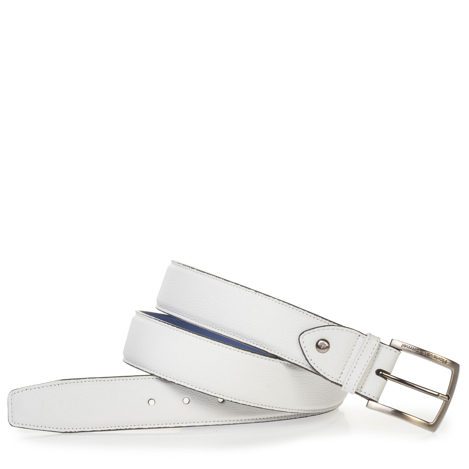 75189/65 - Leather belt with structured pattern white