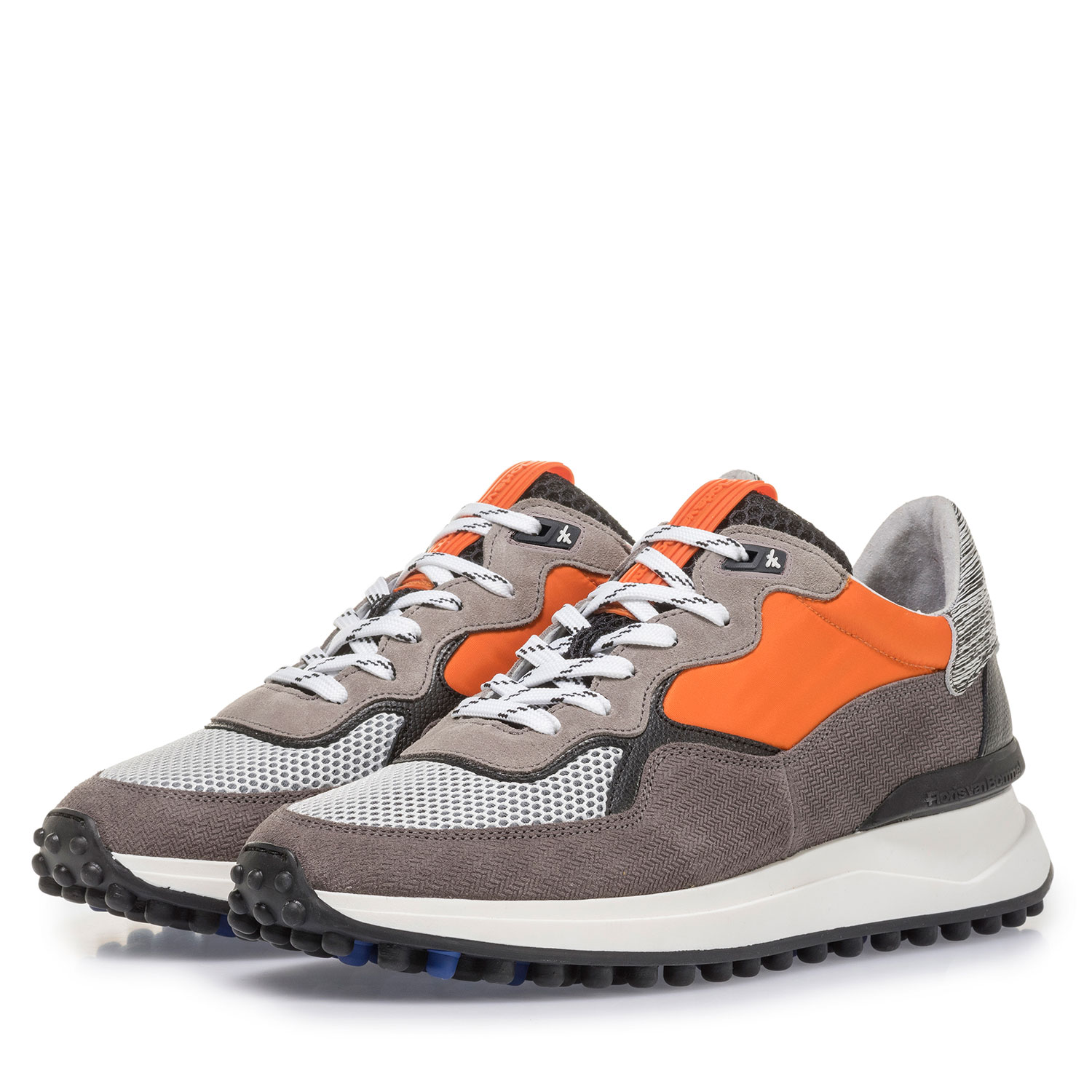 16301/08 - Grey suede leather sneaker with orange details