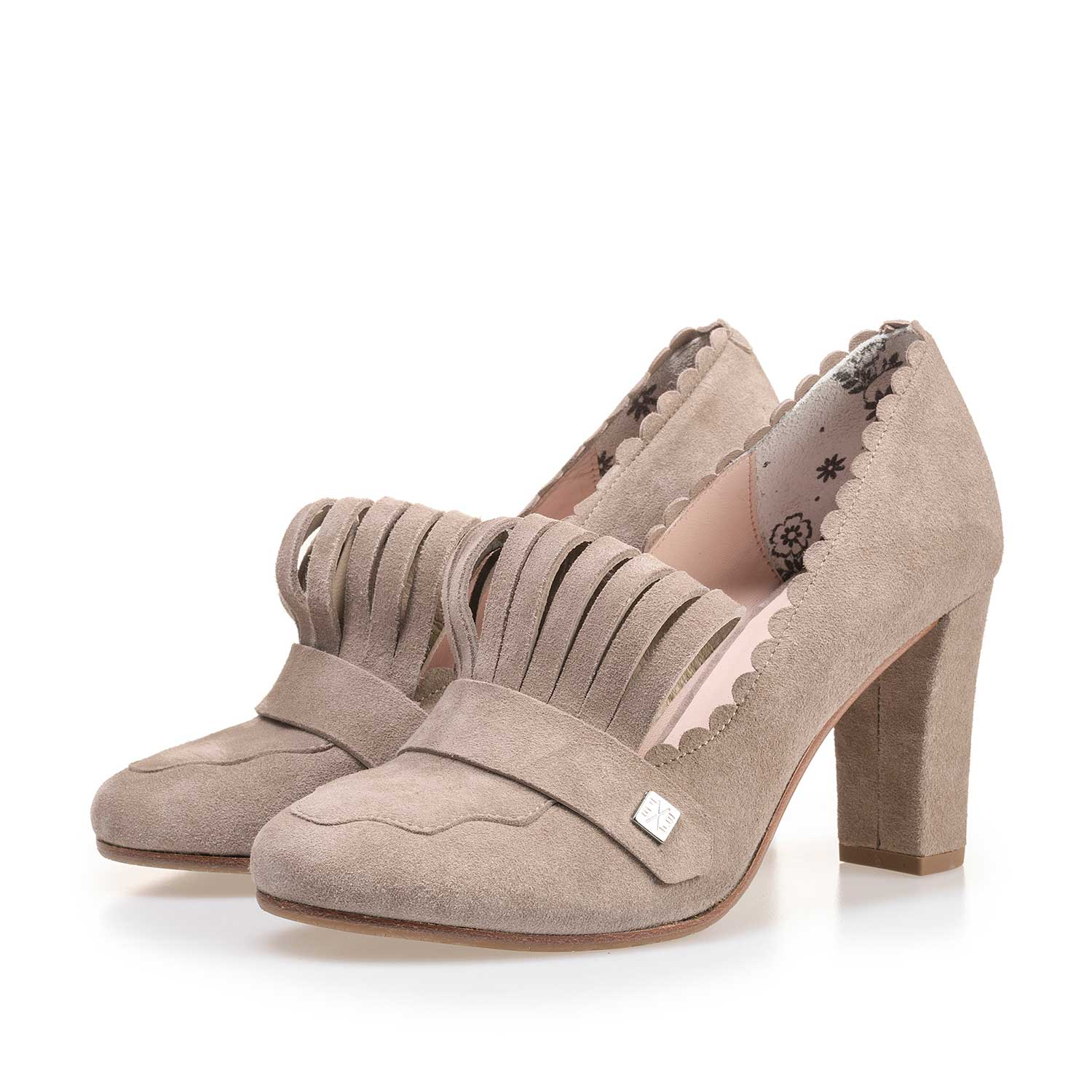 85190/06 - Taupe-coloured calf's suede leather pumps
