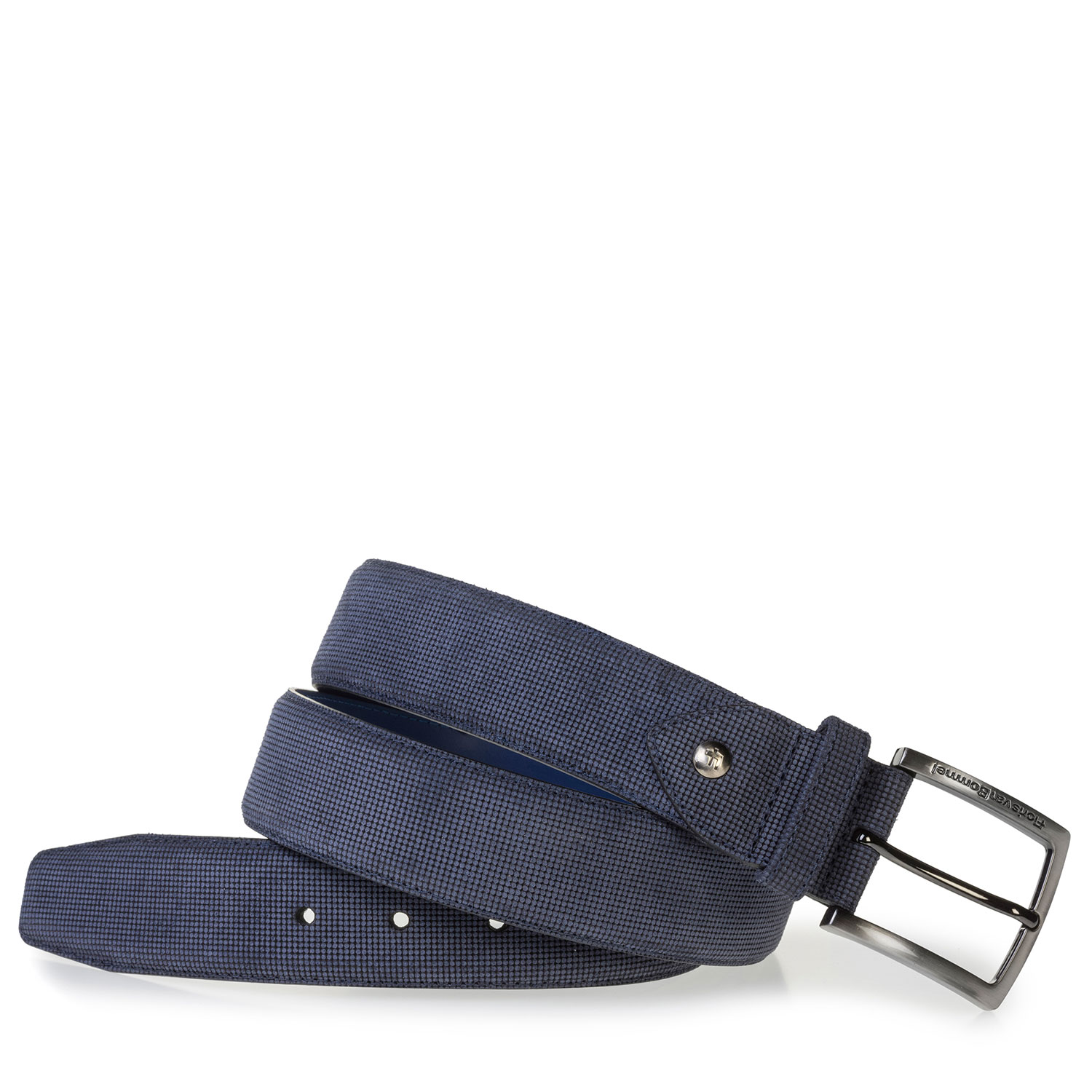 75202/53 - Blue suede leather belt with print