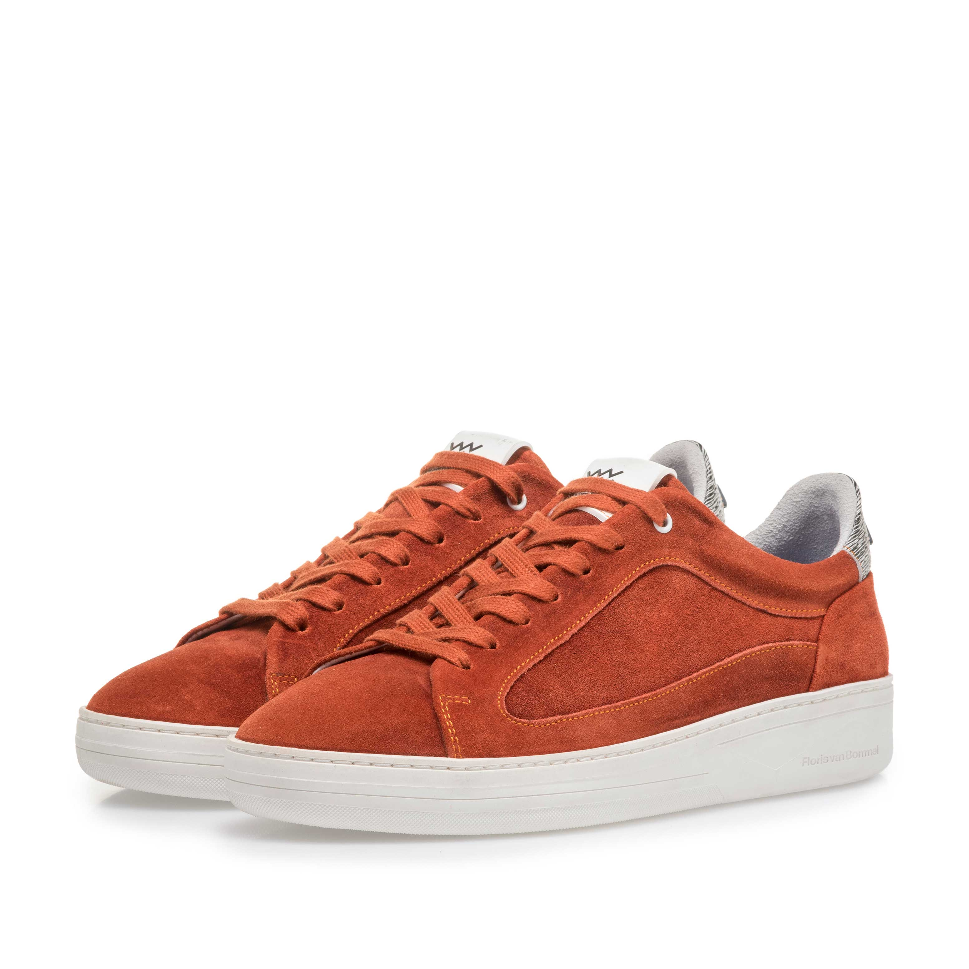 13265/03 - Orange and red suede leather sneaker